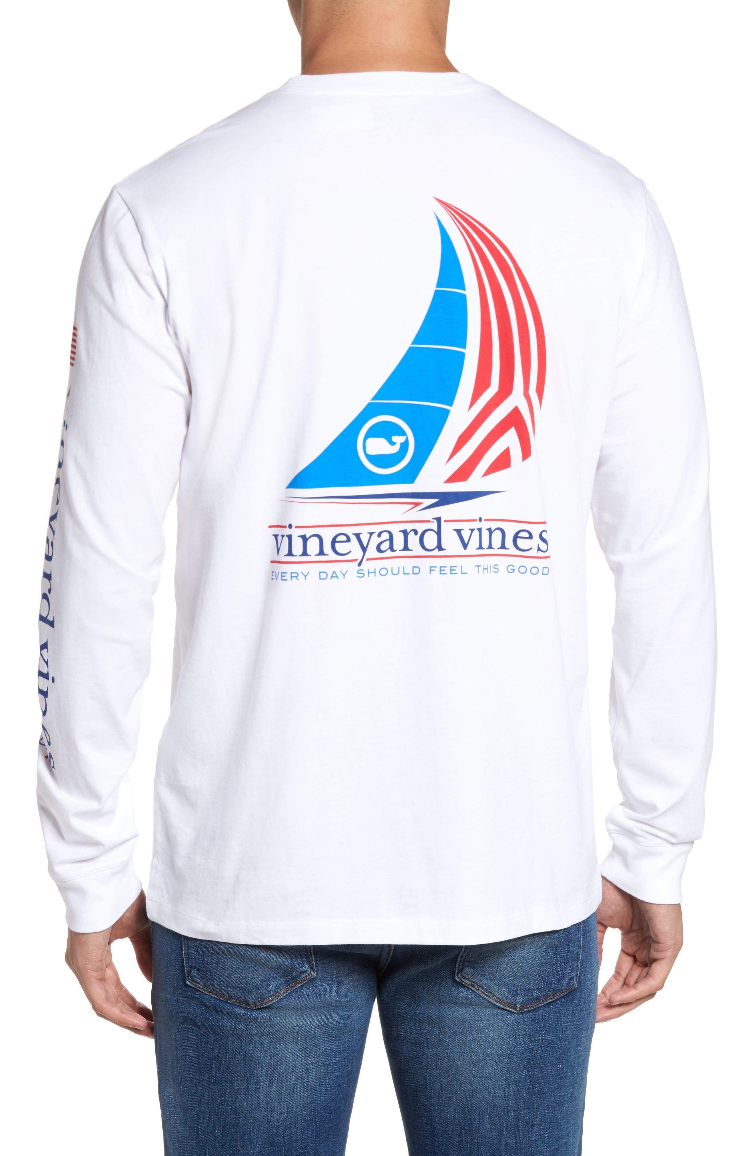 Spinnaker Sail Long Sleeve Pocket T-Shirt,                         Main,                         color, White Cap