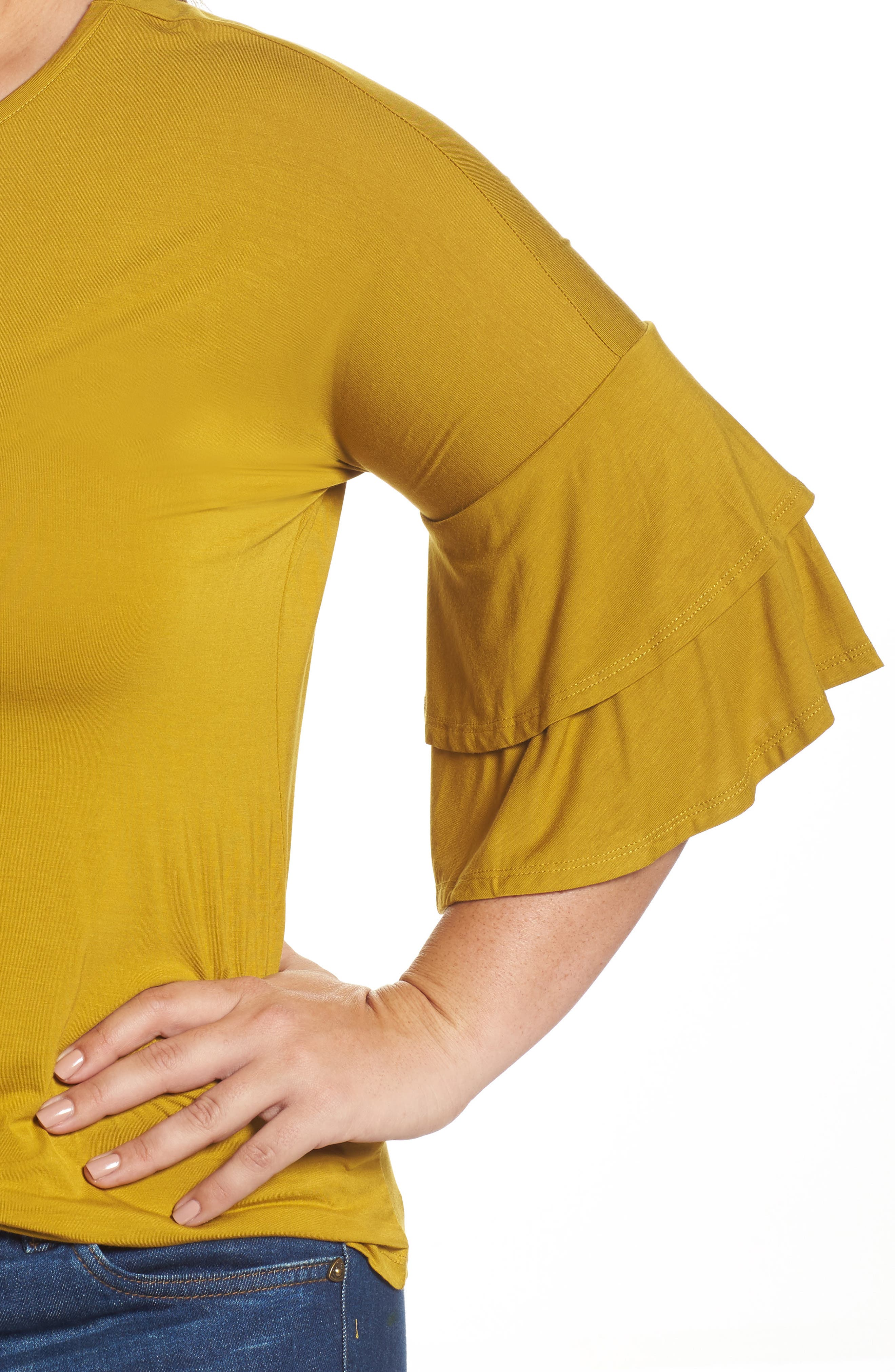 Double Ruffle Sleeve Top,                             Alternate thumbnail 4, color,                             Olive Light