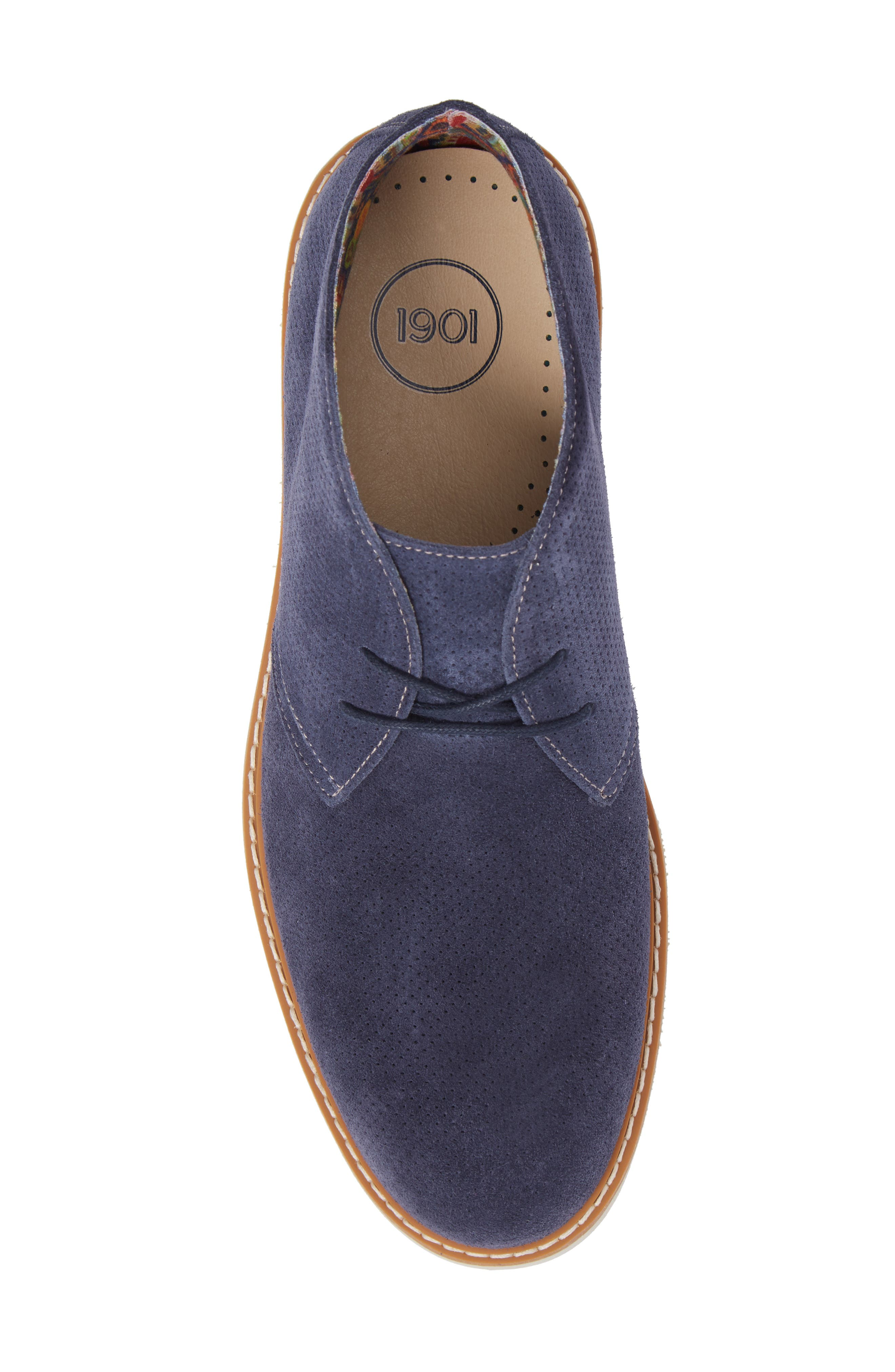 Bayside Perforated Chukka Boot,                             Alternate thumbnail 5, color,                             Blue Suede