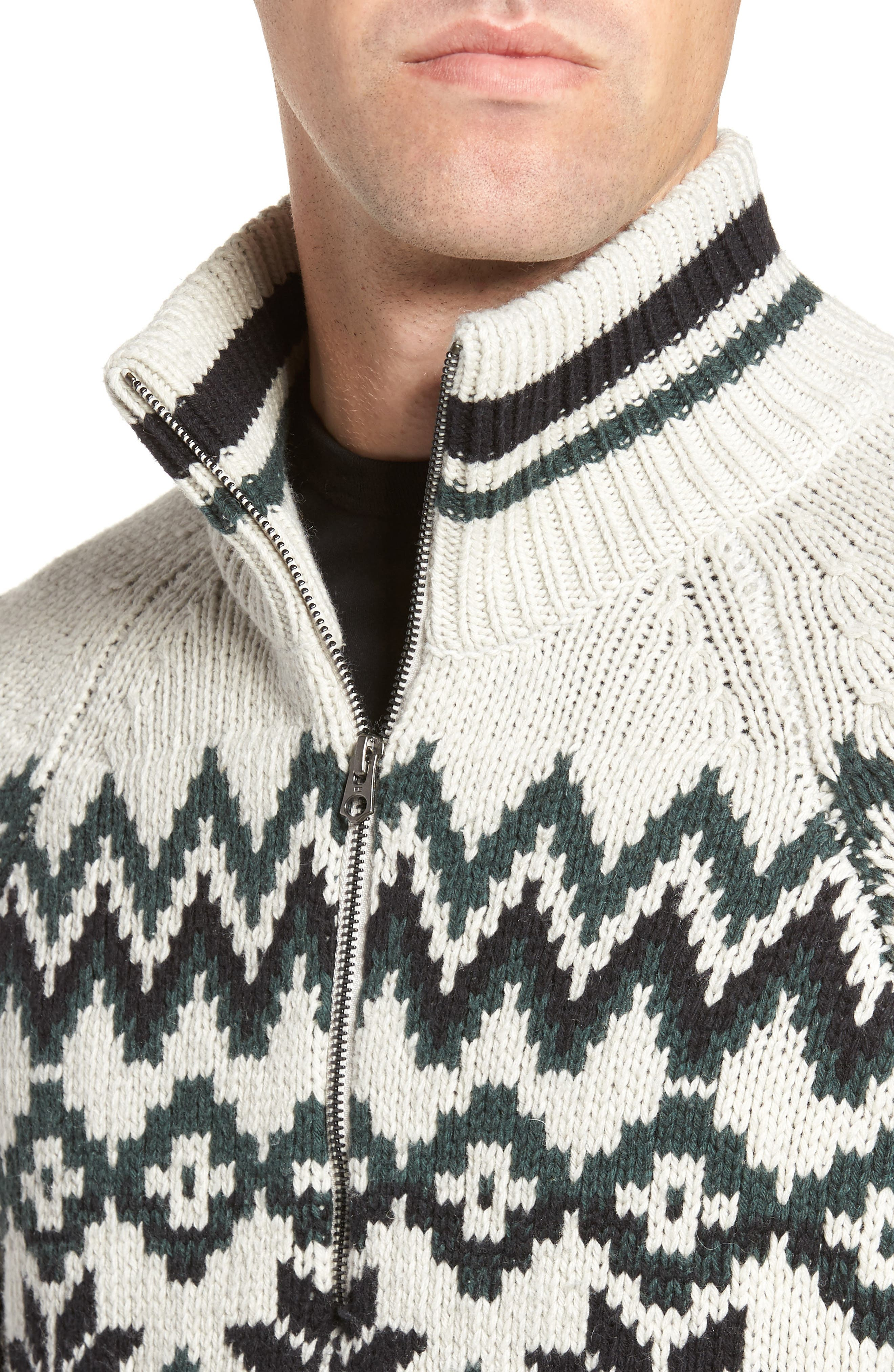 Fair Isle Ski Sweater,                             Alternate thumbnail 4, color,                             Clay/ Darkest Spruce/ Black