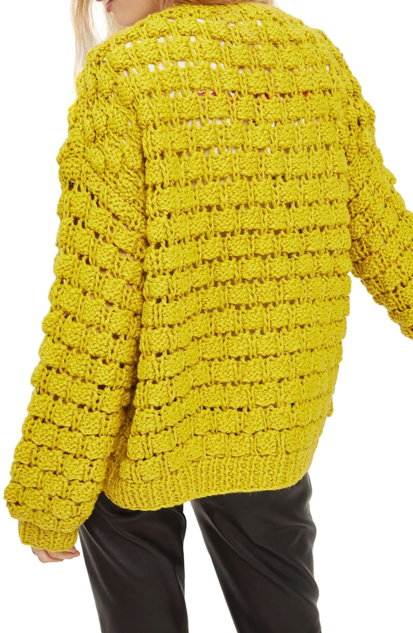 Bobble Stitch Cardigan,                             Alternate thumbnail 2, color,                             Chartreuse