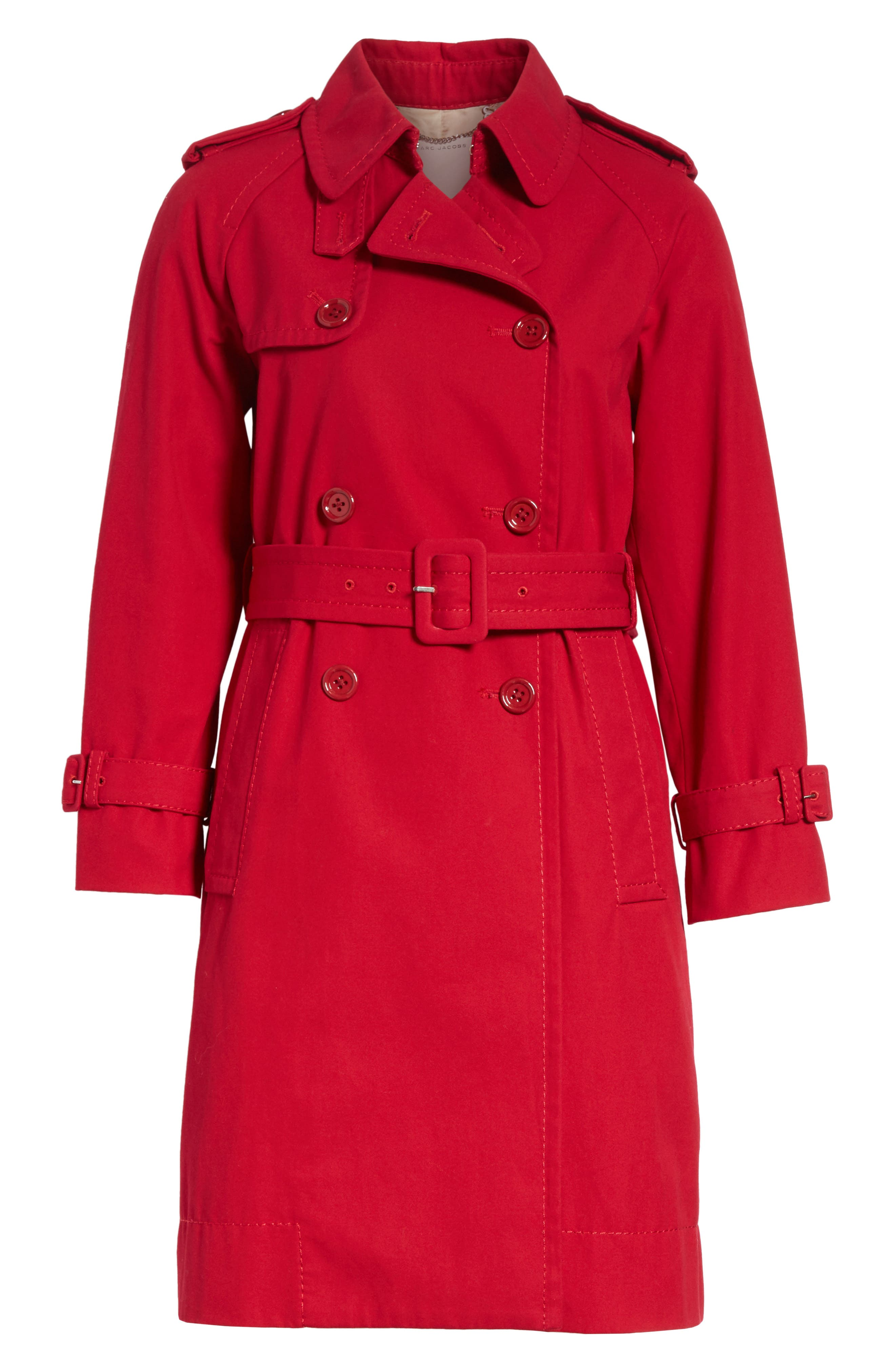 Shrunken Trench Coat,                             Alternate thumbnail 6, color,                             Red