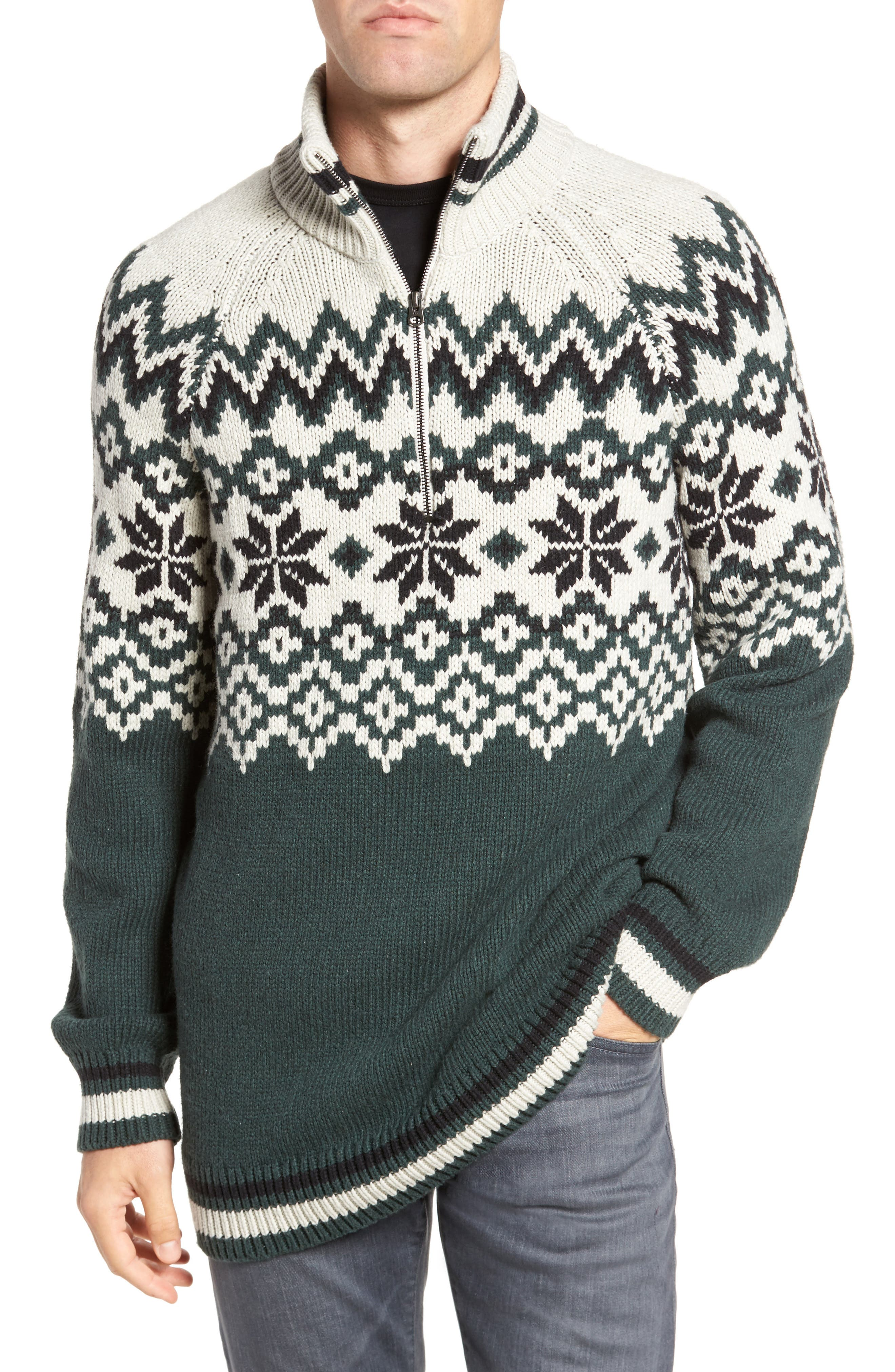 Fair Isle Ski Sweater,                             Main thumbnail 1, color,                             Clay/ Darkest Spruce/ Black