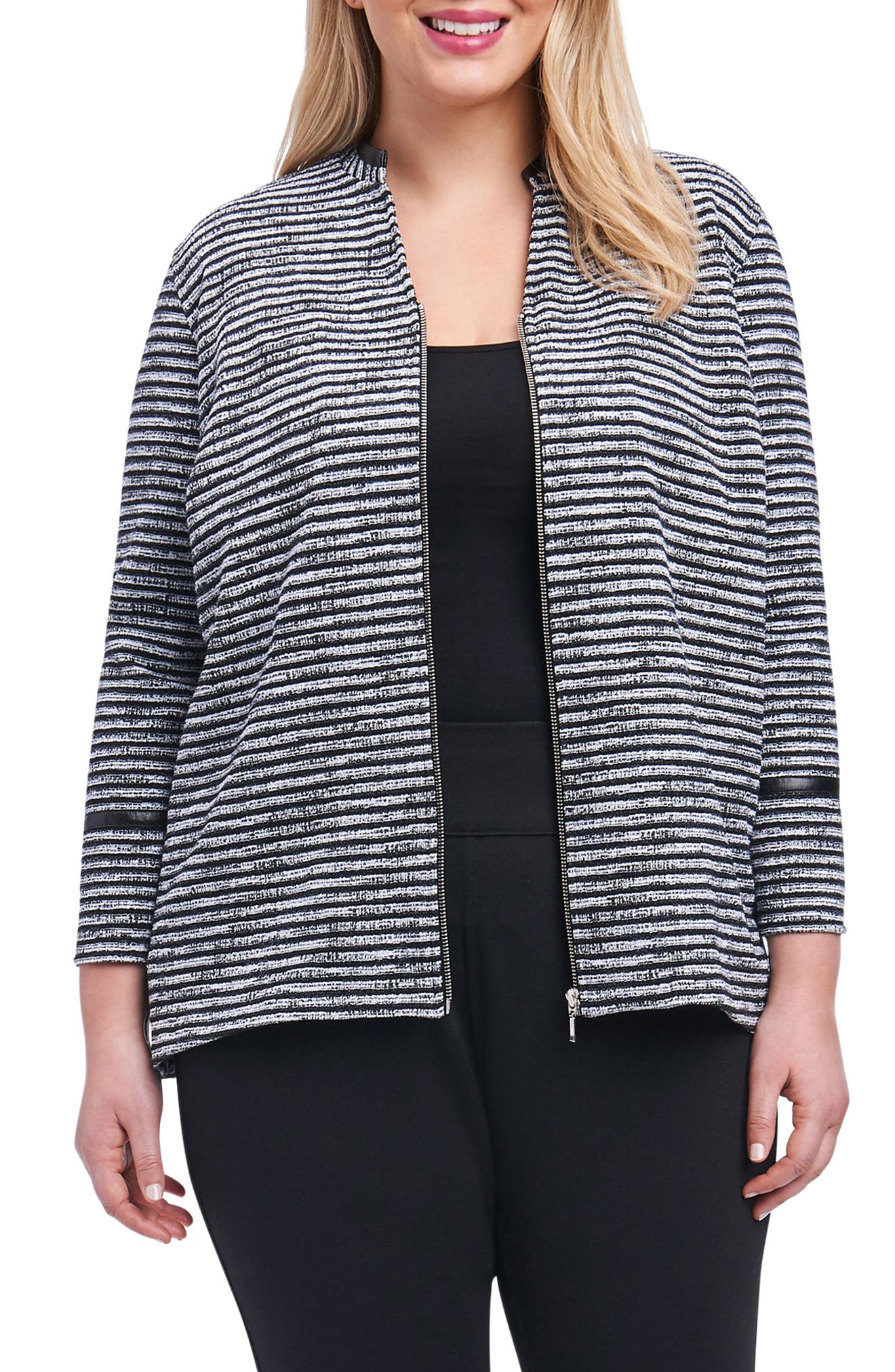 Irina Stripe Knit Jacket,                             Main thumbnail 1, color,                             Ivory/ Black