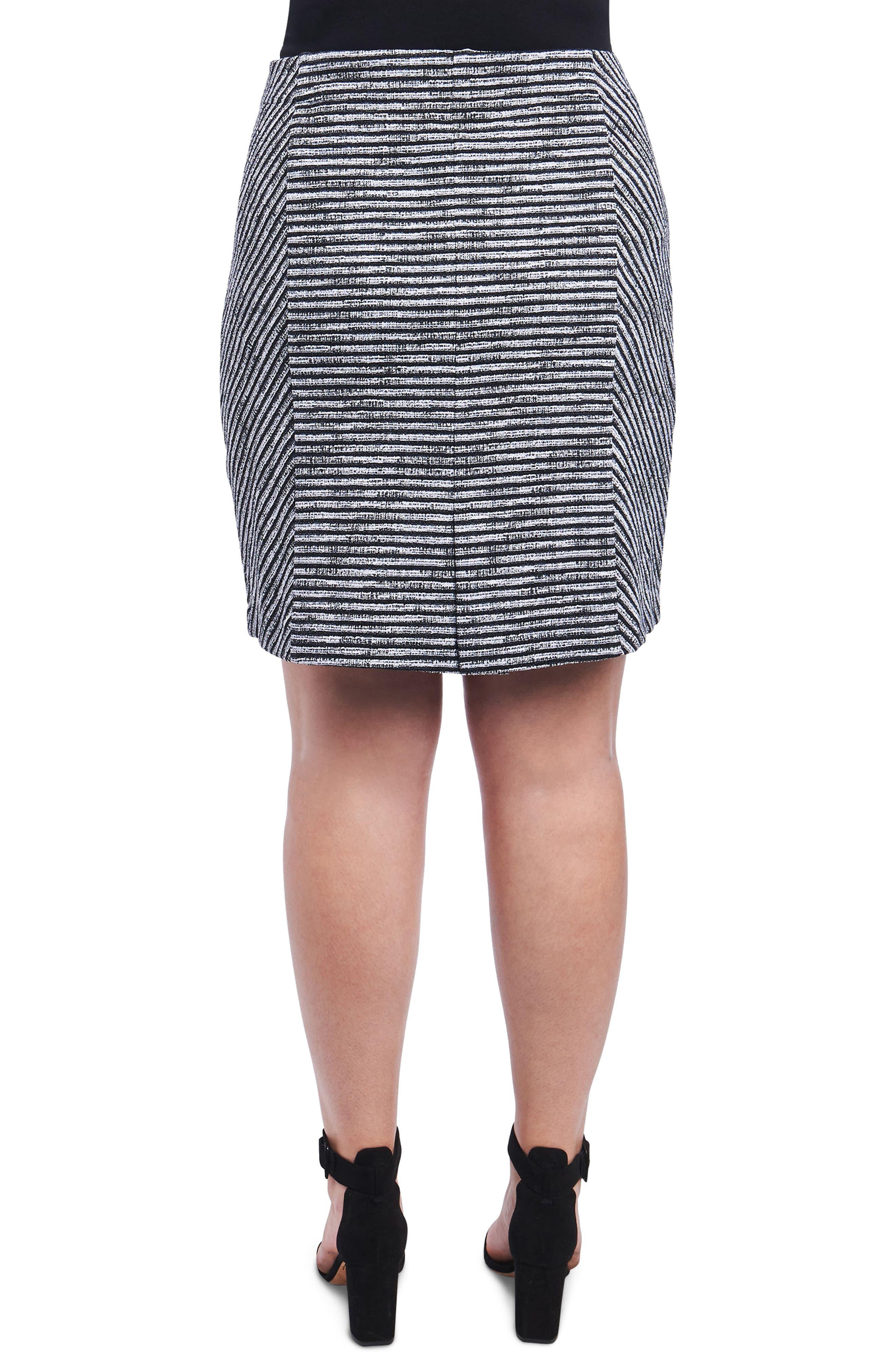 Jemma Stripe Knit Skirt,                             Alternate thumbnail 2, color,                             Ivory/ Black
