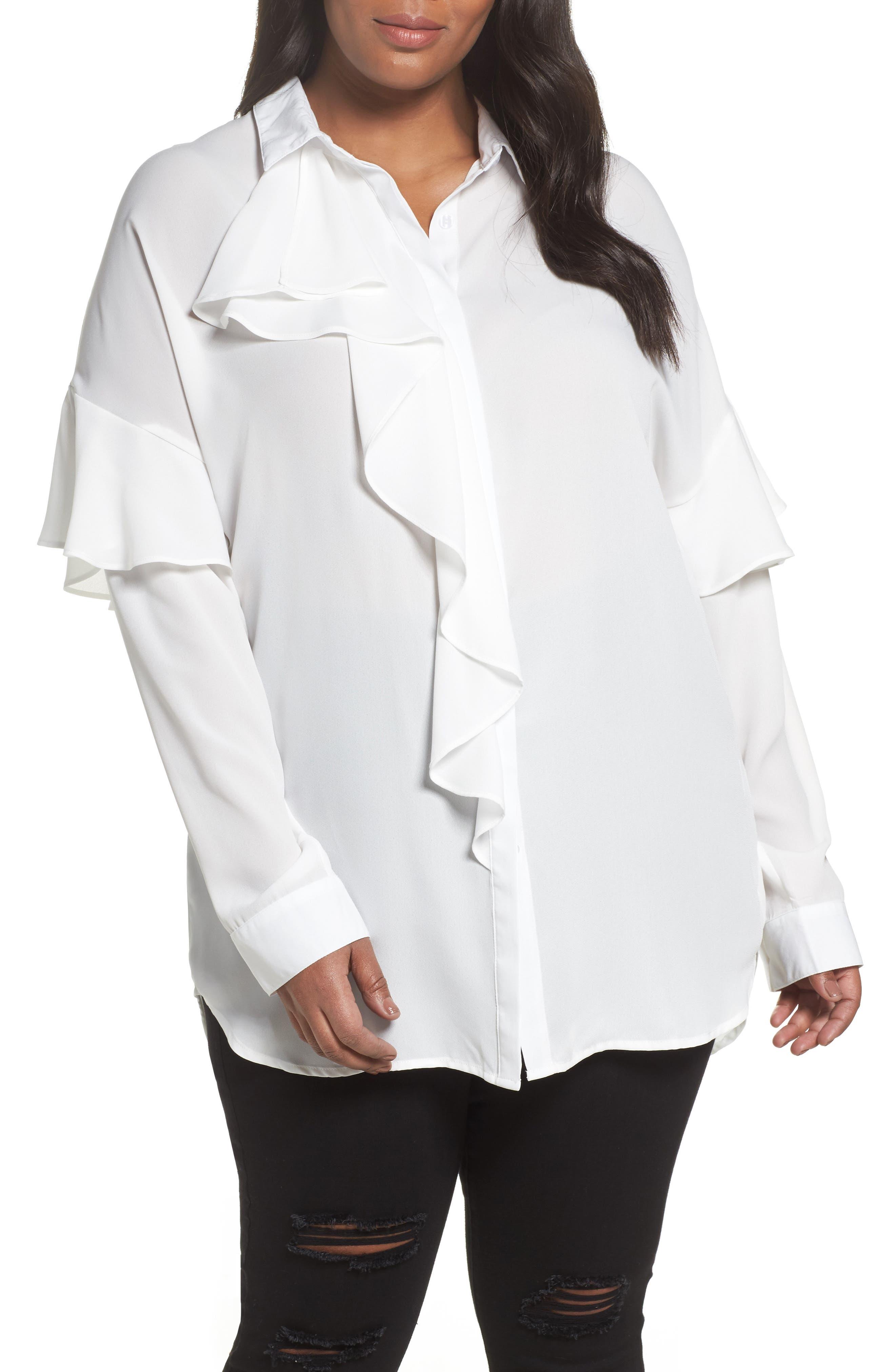 Asymmetrical Ruffle Blouse,                         Main,                         color, White