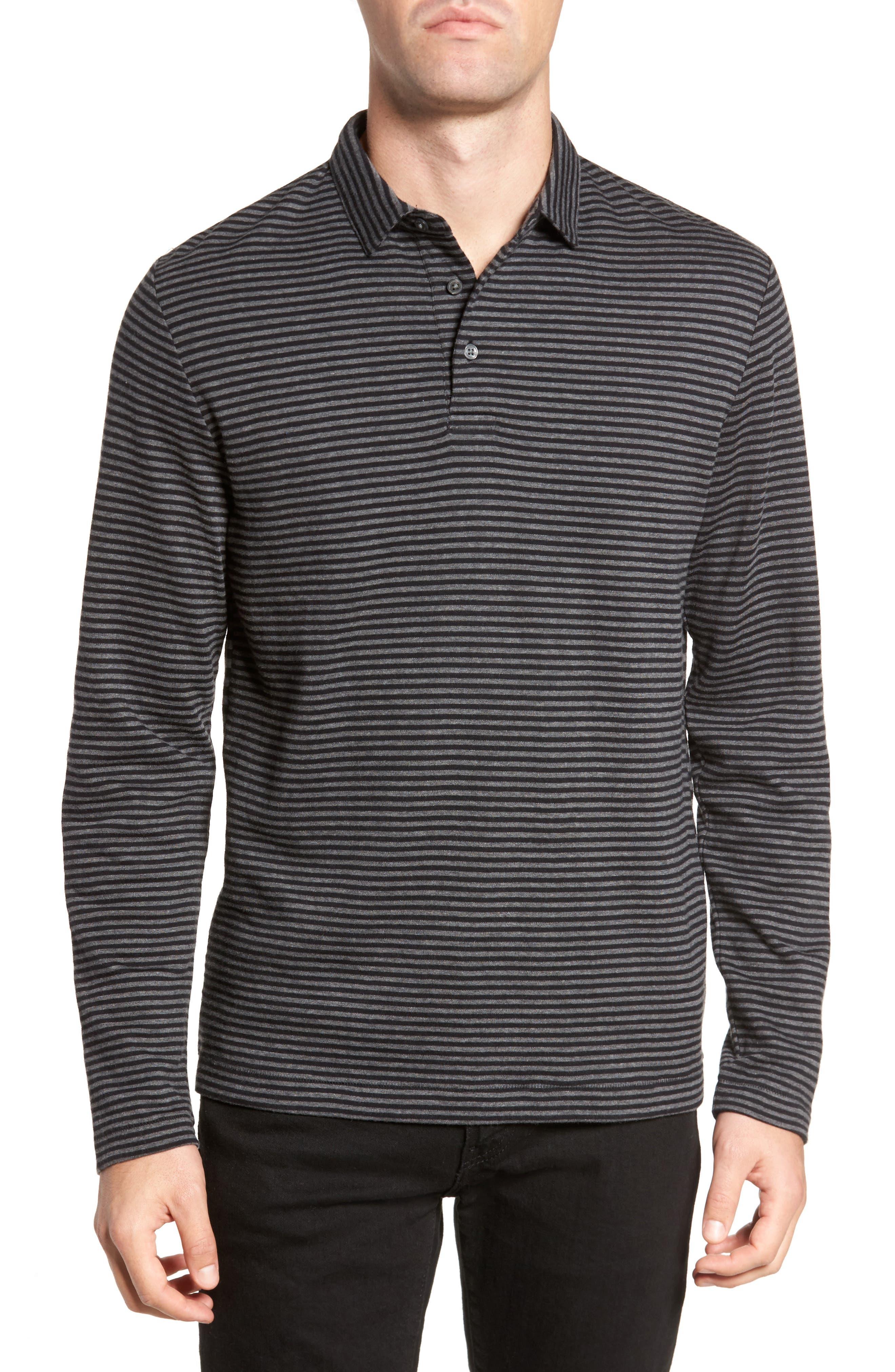 Alternative Stripe Long Sleeve Polo,                         Main,                         color, Charcoal Melange/ Black