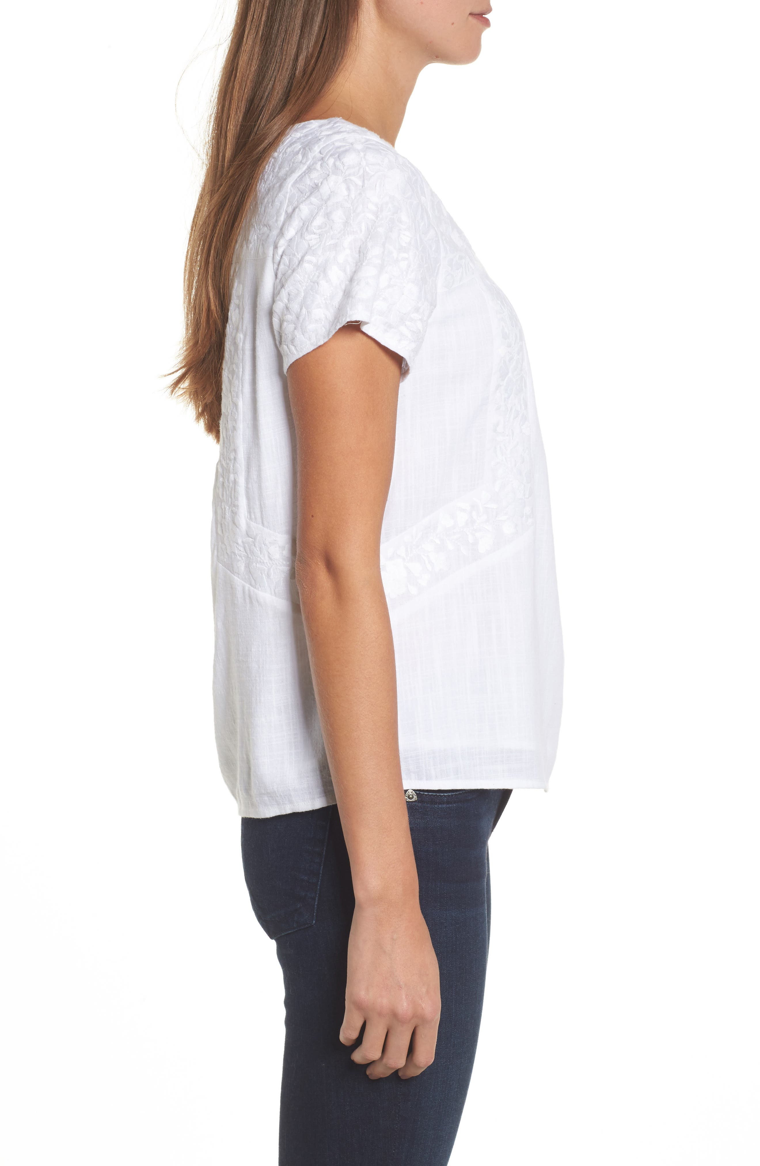Monstera Linear Embroidered Top,                             Alternate thumbnail 3, color,                             White Cap