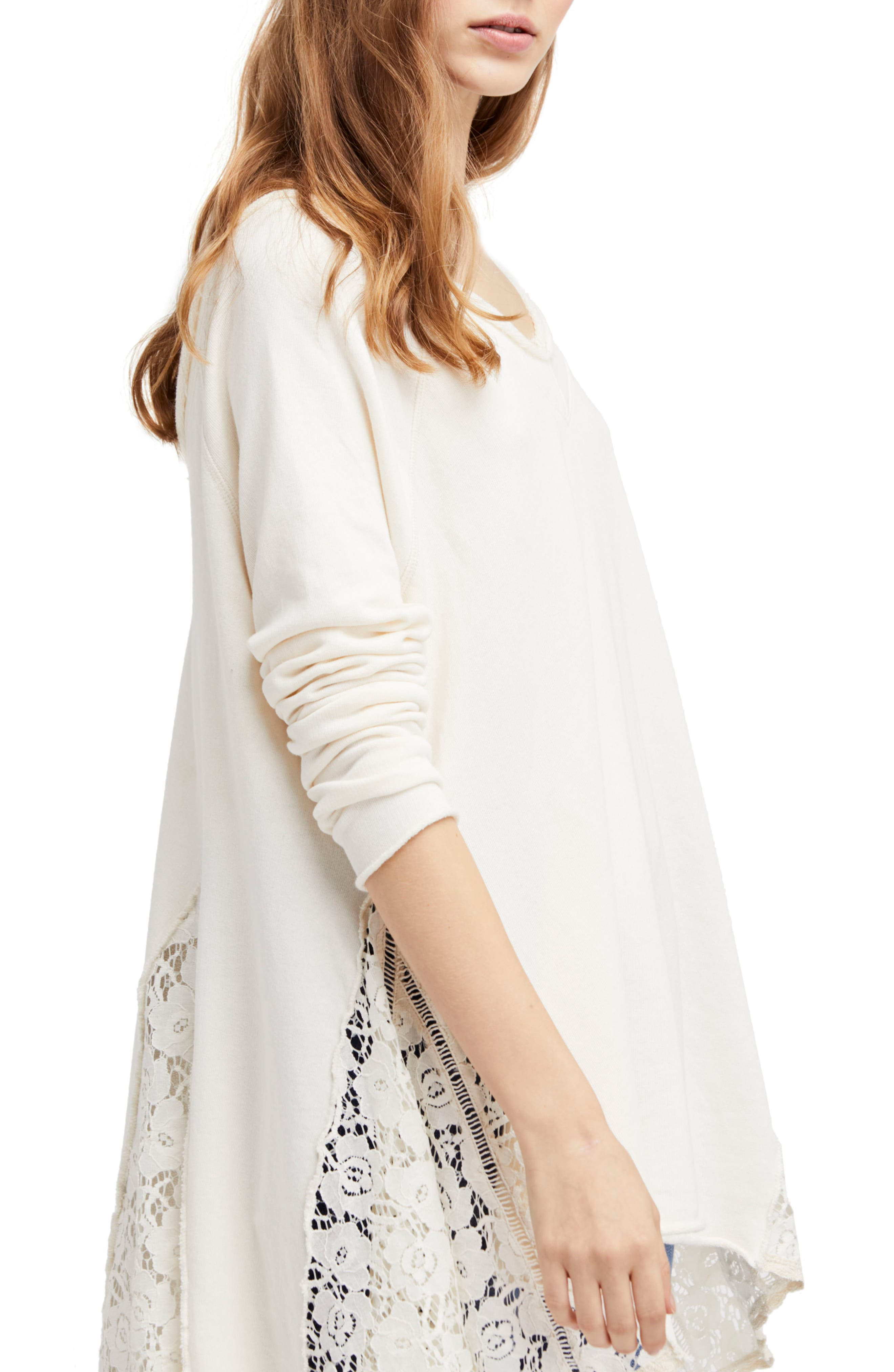 Free People No Frills Lace Inset Asymmetrical Top