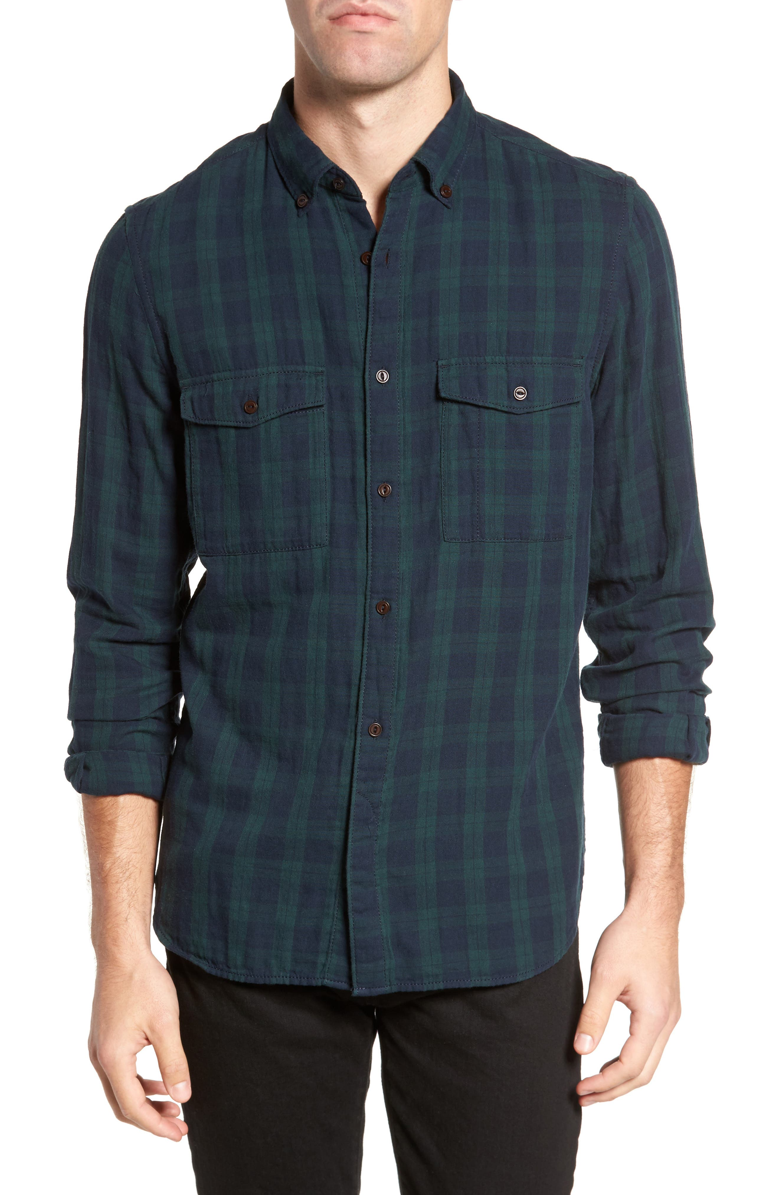 Alternate Image 1 Selected - French Connection Black Watch Double Check Sport Shirt
