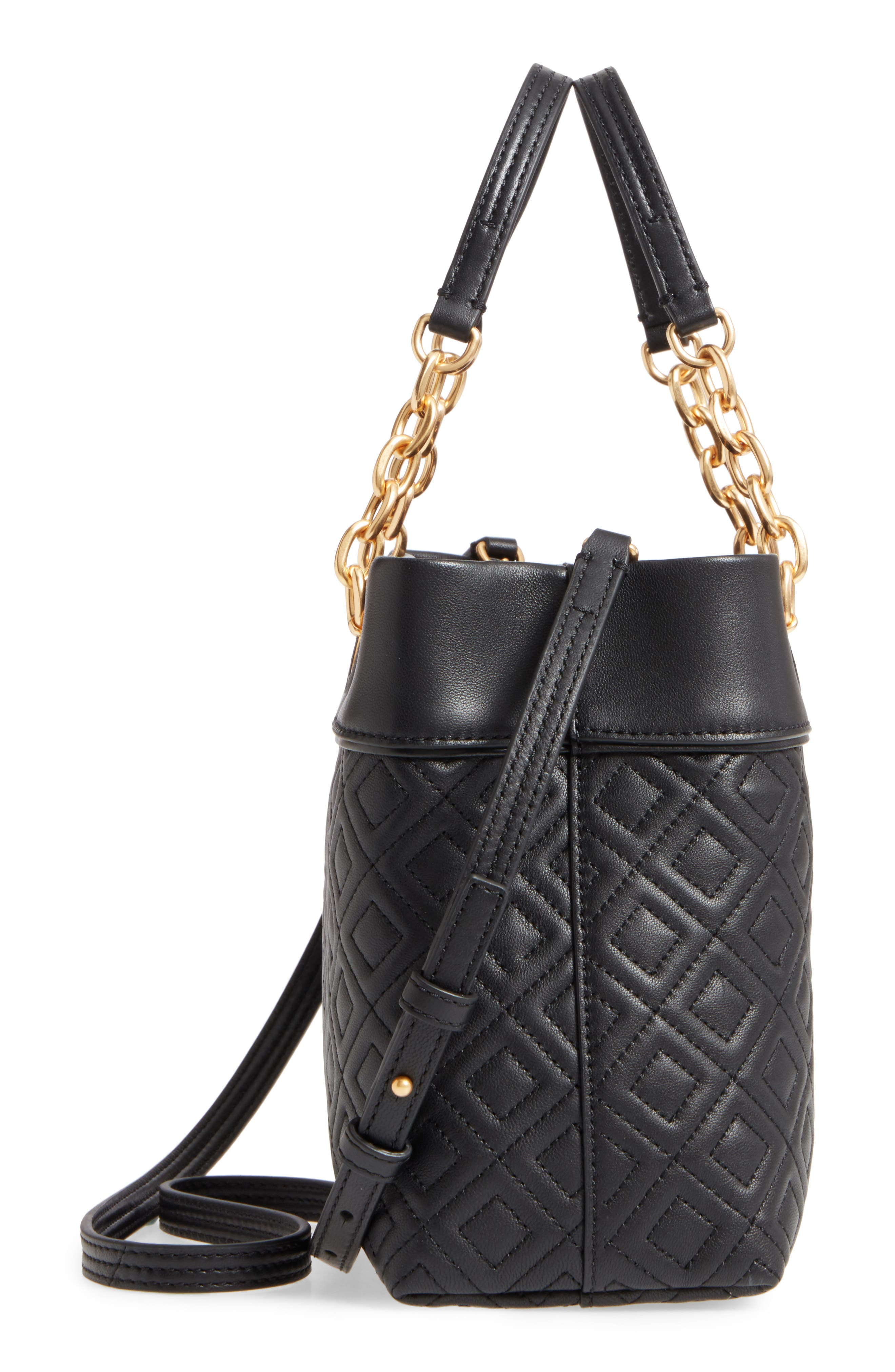 Small Fleming Leather Tote,                             Alternate thumbnail 5, color,                             Black