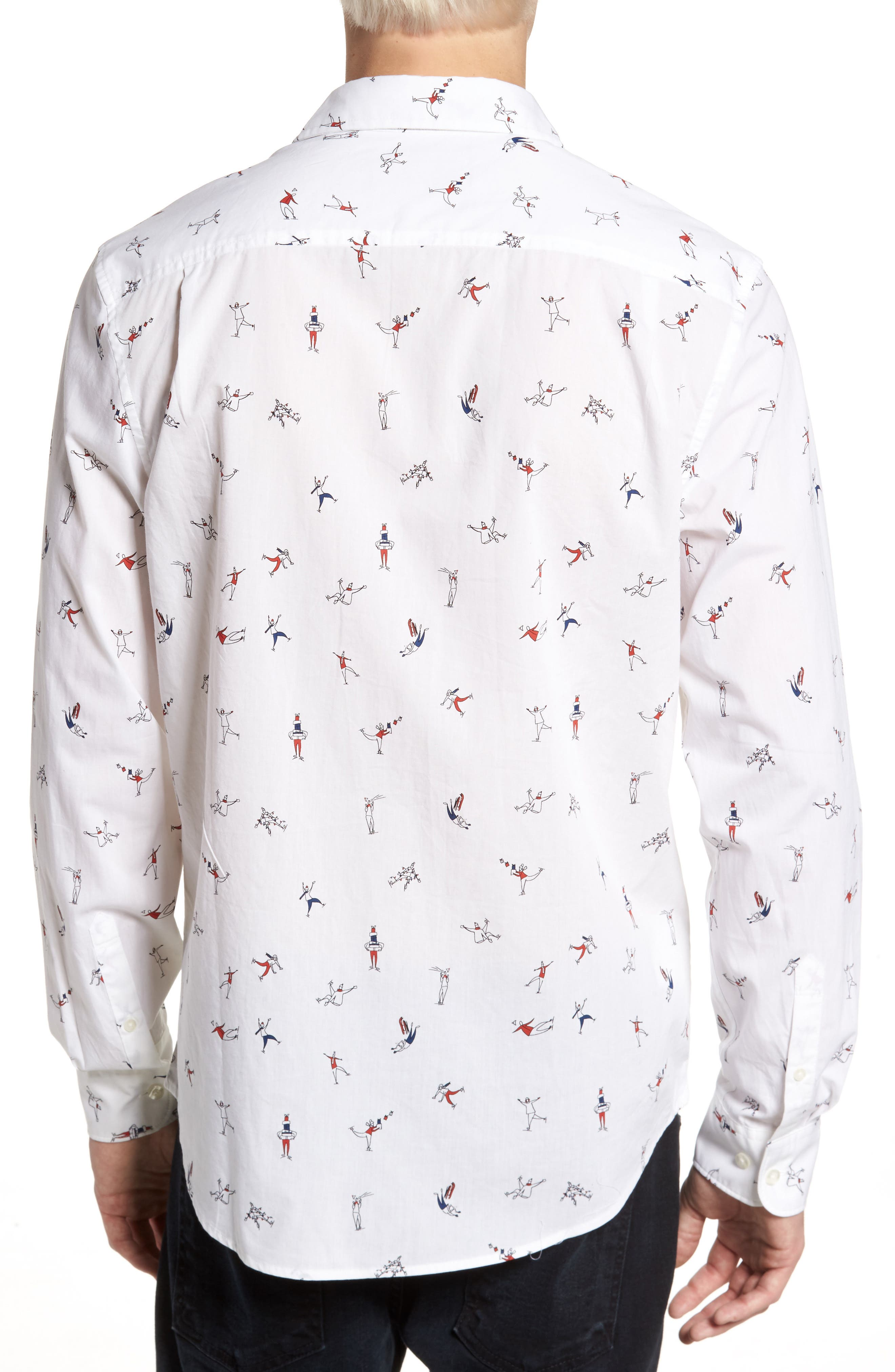 Clumsy Skaters Poplin Shirt,                             Alternate thumbnail 2, color,                             Bright White