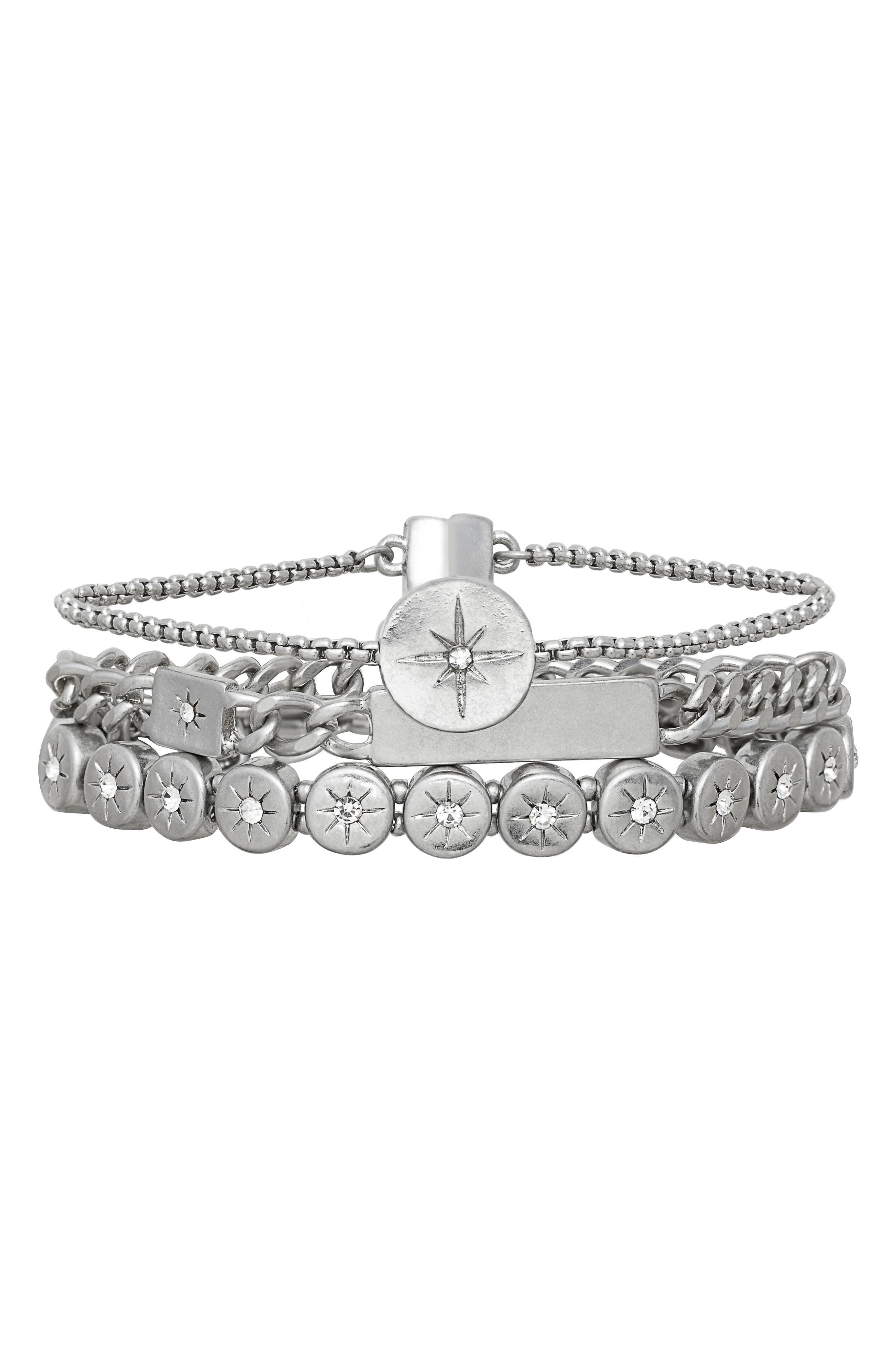 Multi Row Star Disc Bracelet,                         Main,                         color, Clear- Rhodium
