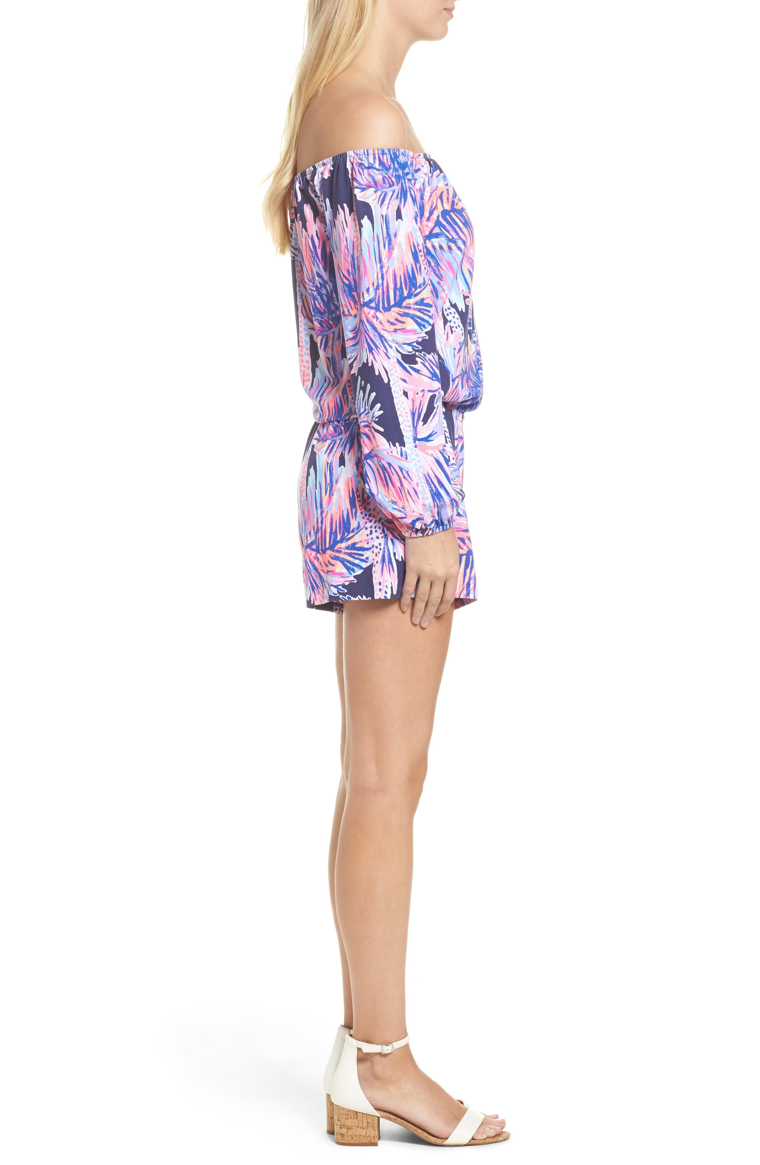 Lana Off the Shoulder Romper,                             Alternate thumbnail 3, color,                             Bright Navy Palms Up