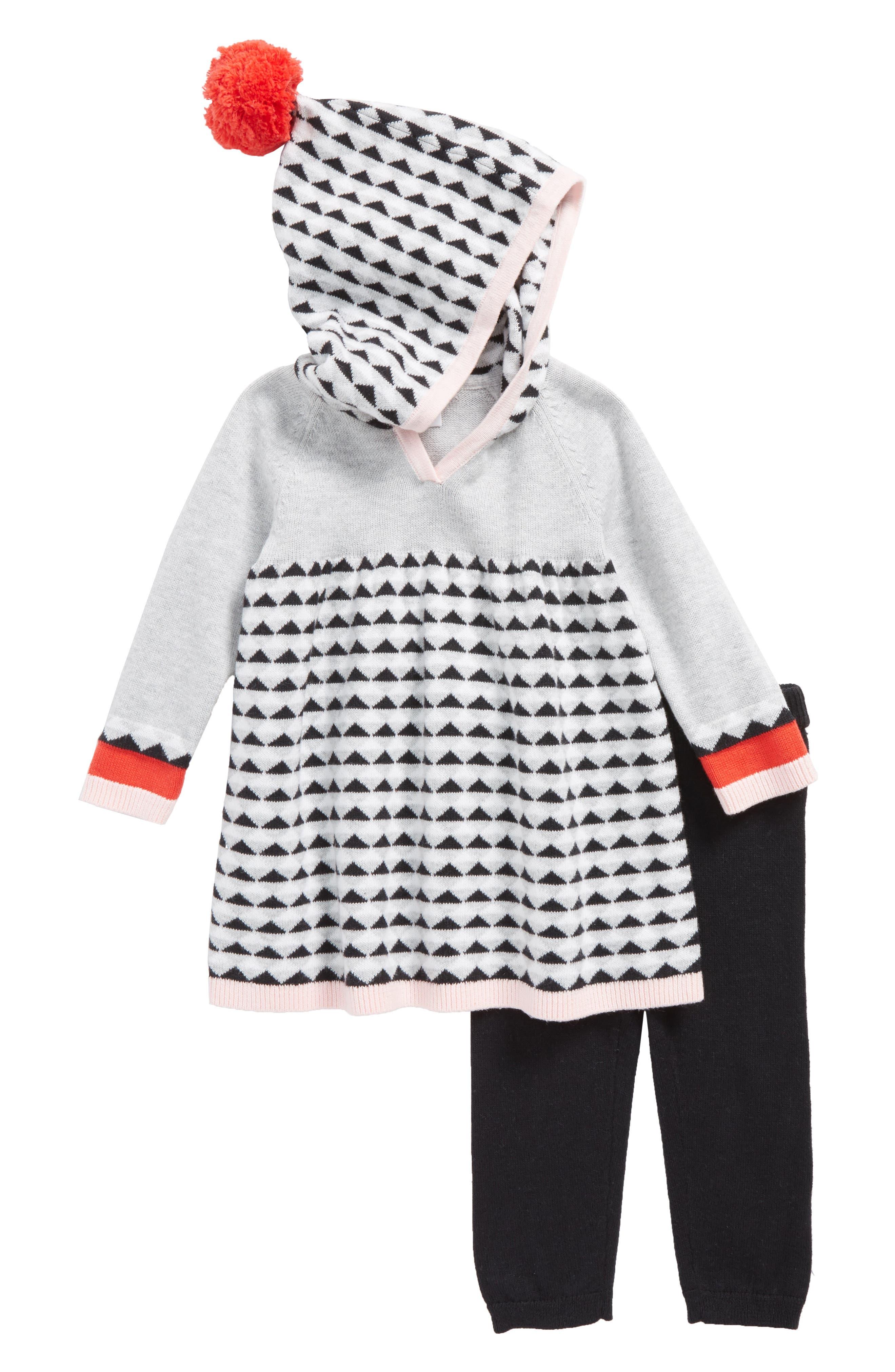 Hooded Sweater Dress & Leggings Set,                         Main,                         color, Grey Ash Heather Geo