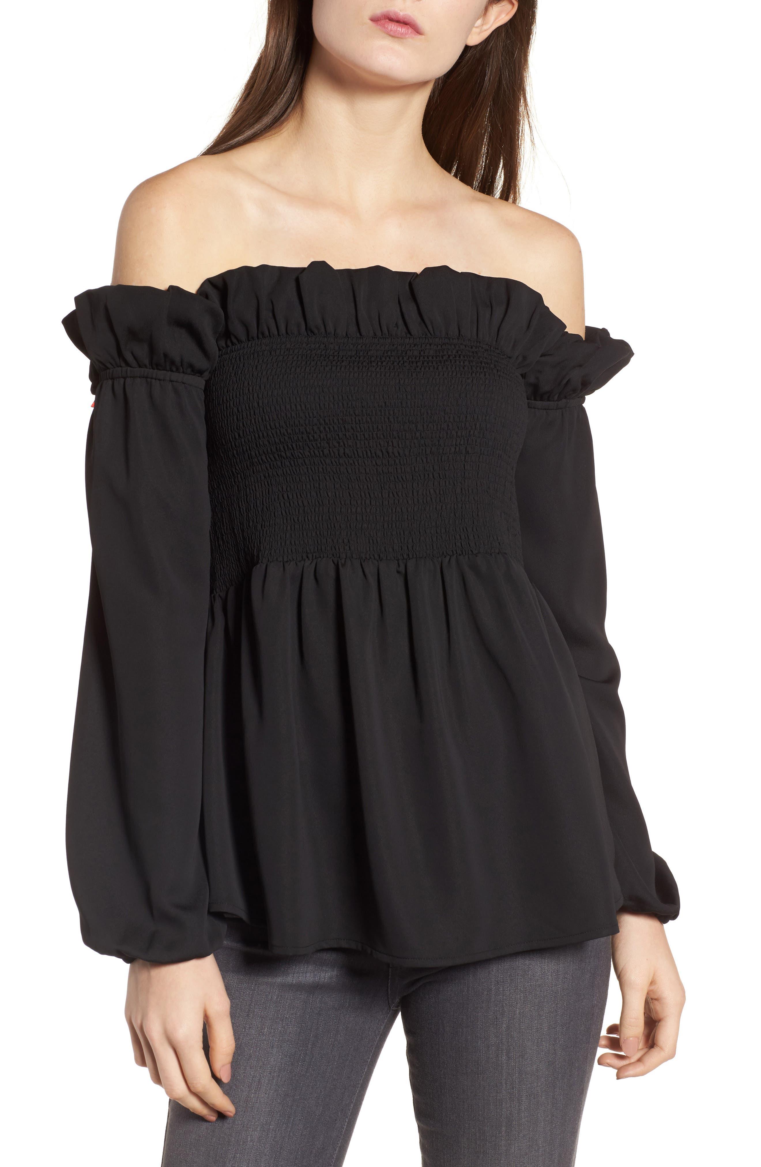 Smocked Top,                         Main,                         color, Black