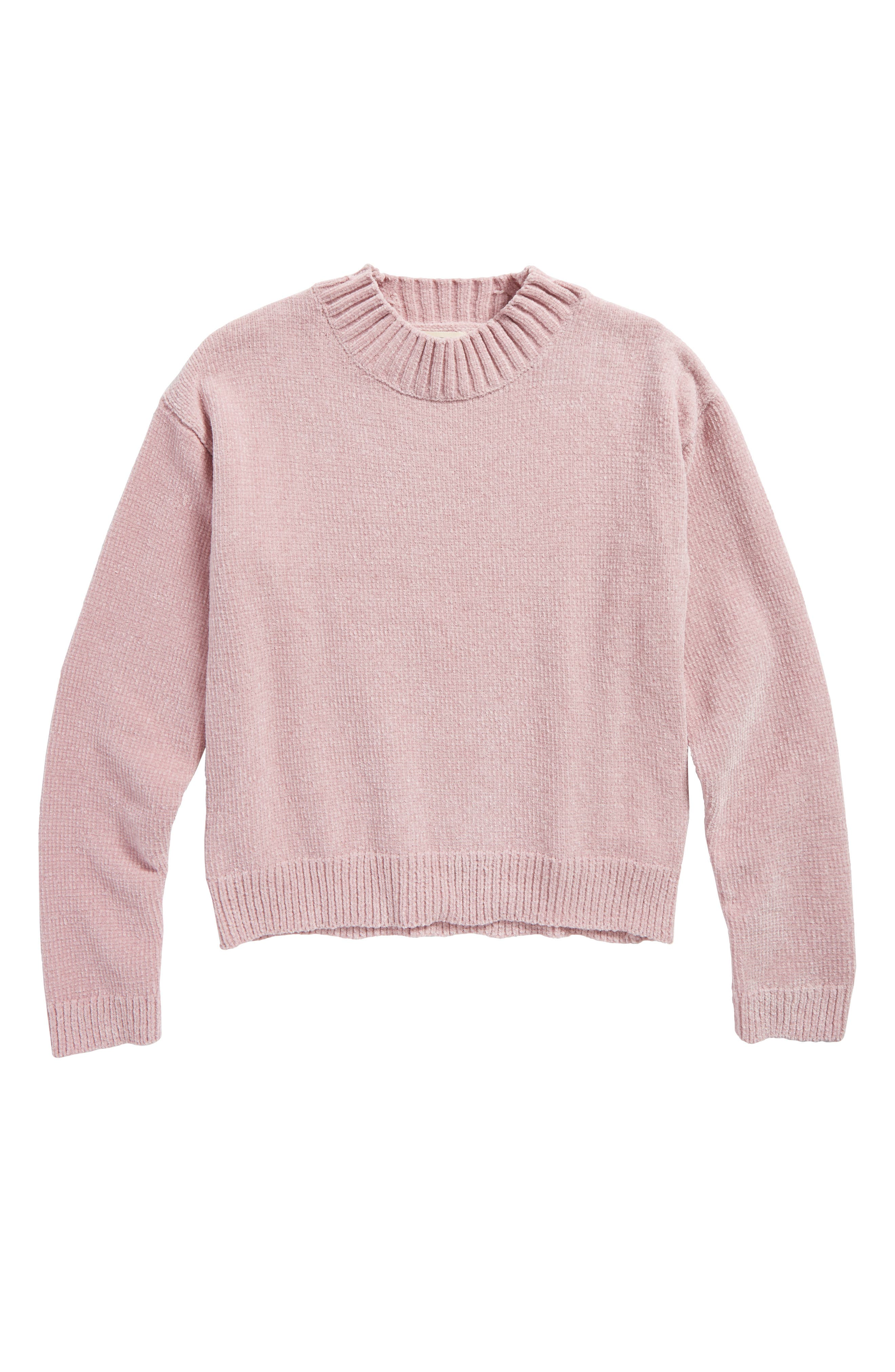 Chenille Mock Neck Sweater,                         Main,                         color, Pink Zephyr