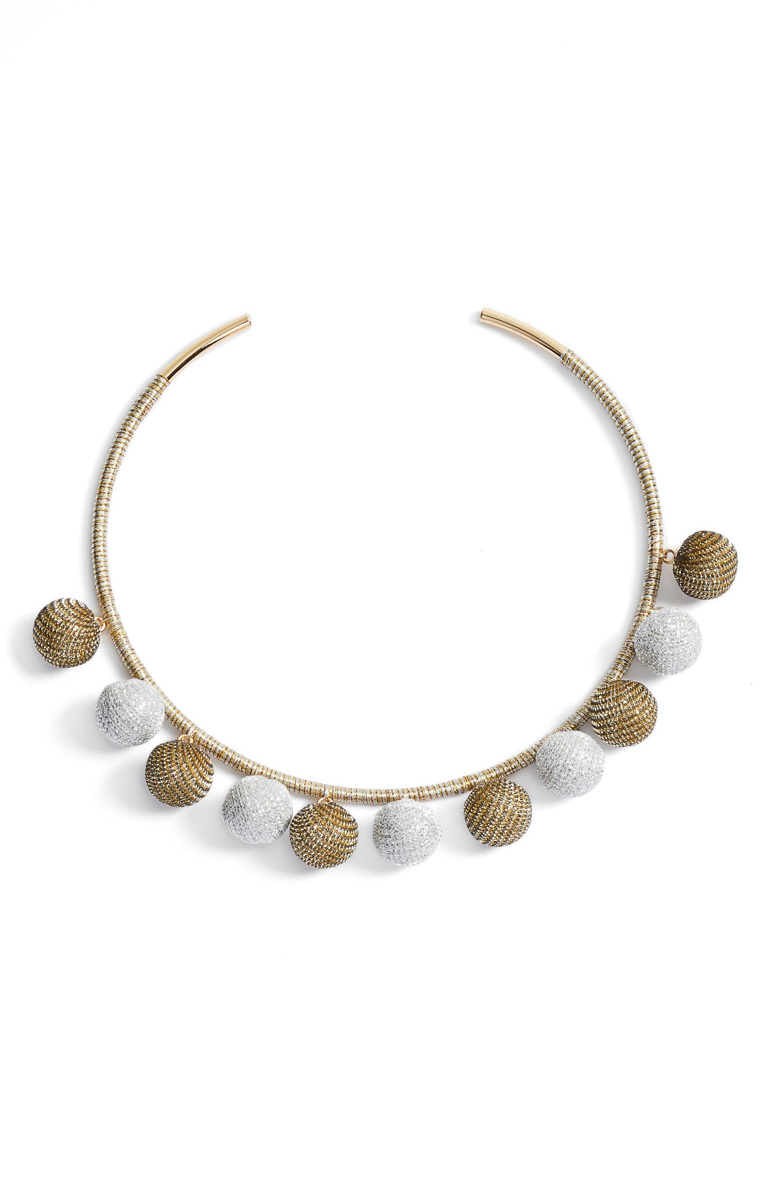 Main Image - Rebecca Minkoff High Shine Pompom Collar Necklace