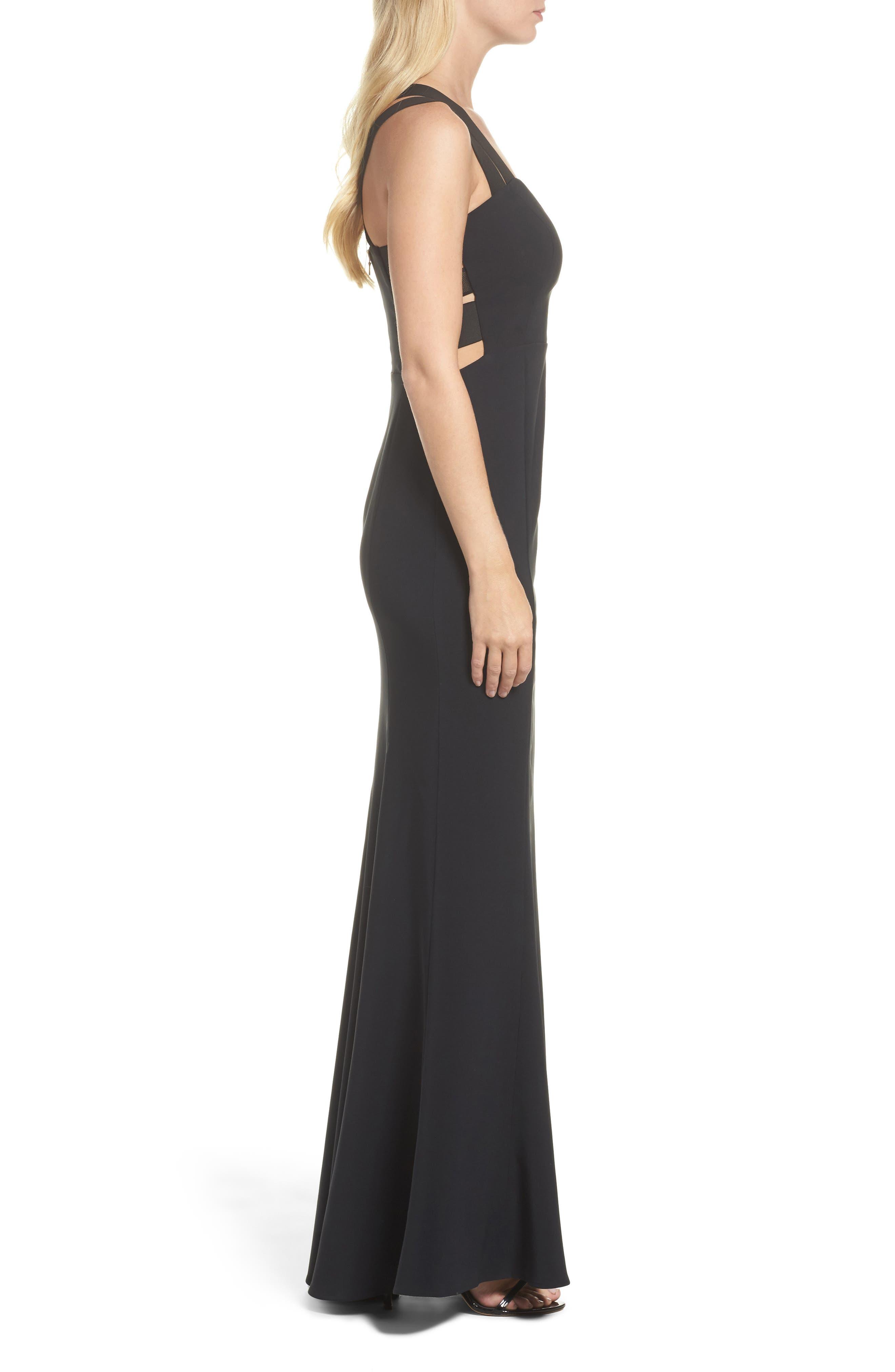 Krista Elastic Strap Cutout Gown,                             Alternate thumbnail 3, color,                             Black