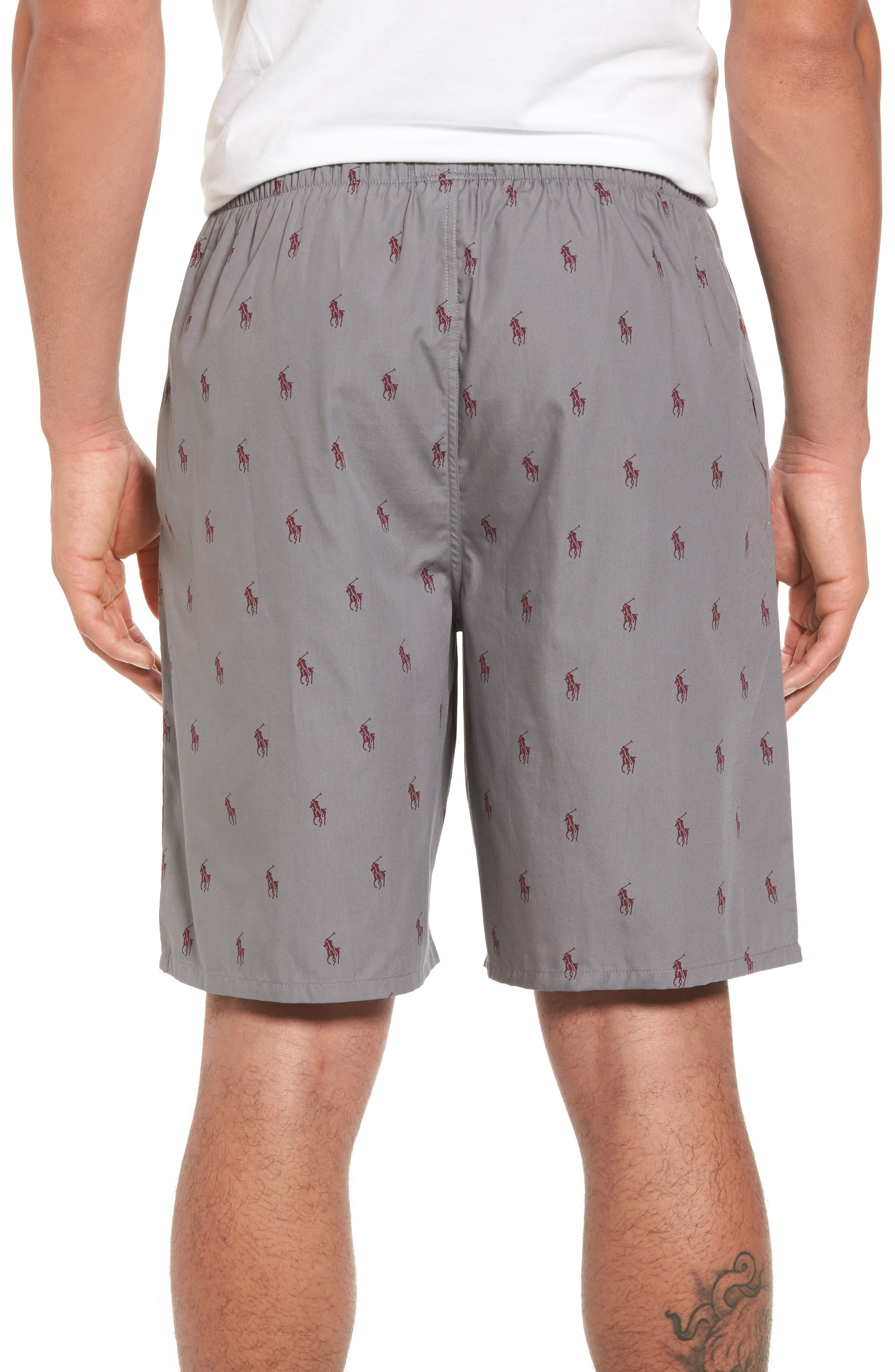 Woven Pajama Shorts,                             Alternate thumbnail 2, color,                             Marine Grey/ Classic Wine