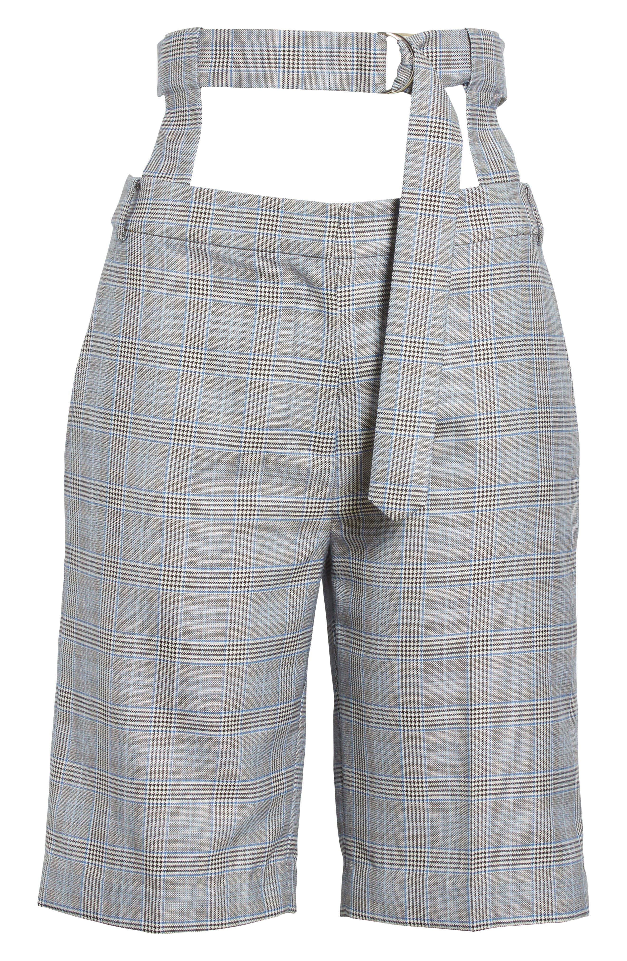 Removable Corset Plaid Shorts,                             Alternate thumbnail 7, color,                             Grey Multi