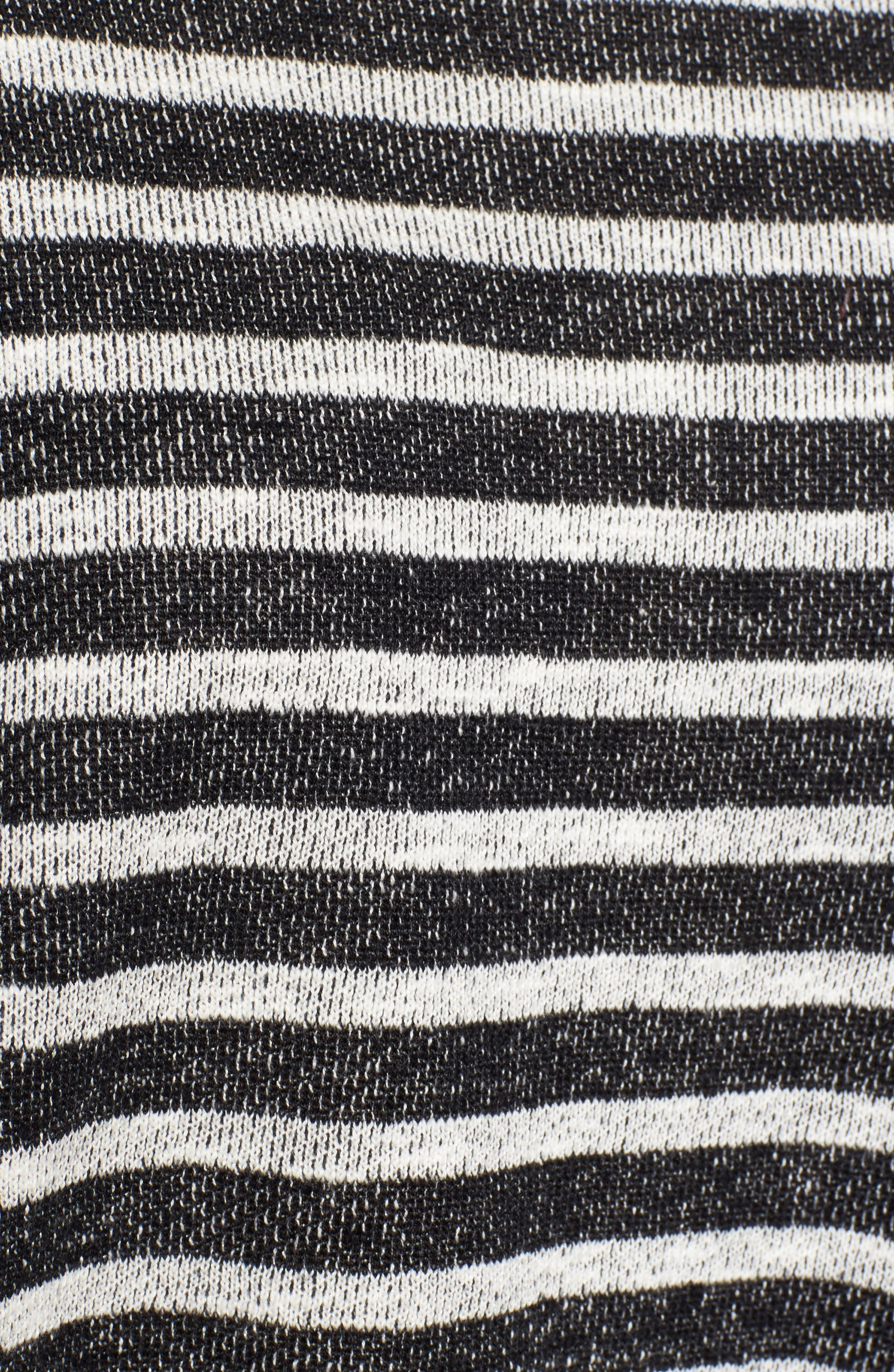 Stripe Organic Linen & Cotton Sweater,                             Alternate thumbnail 6, color,                             Black/ Soft White