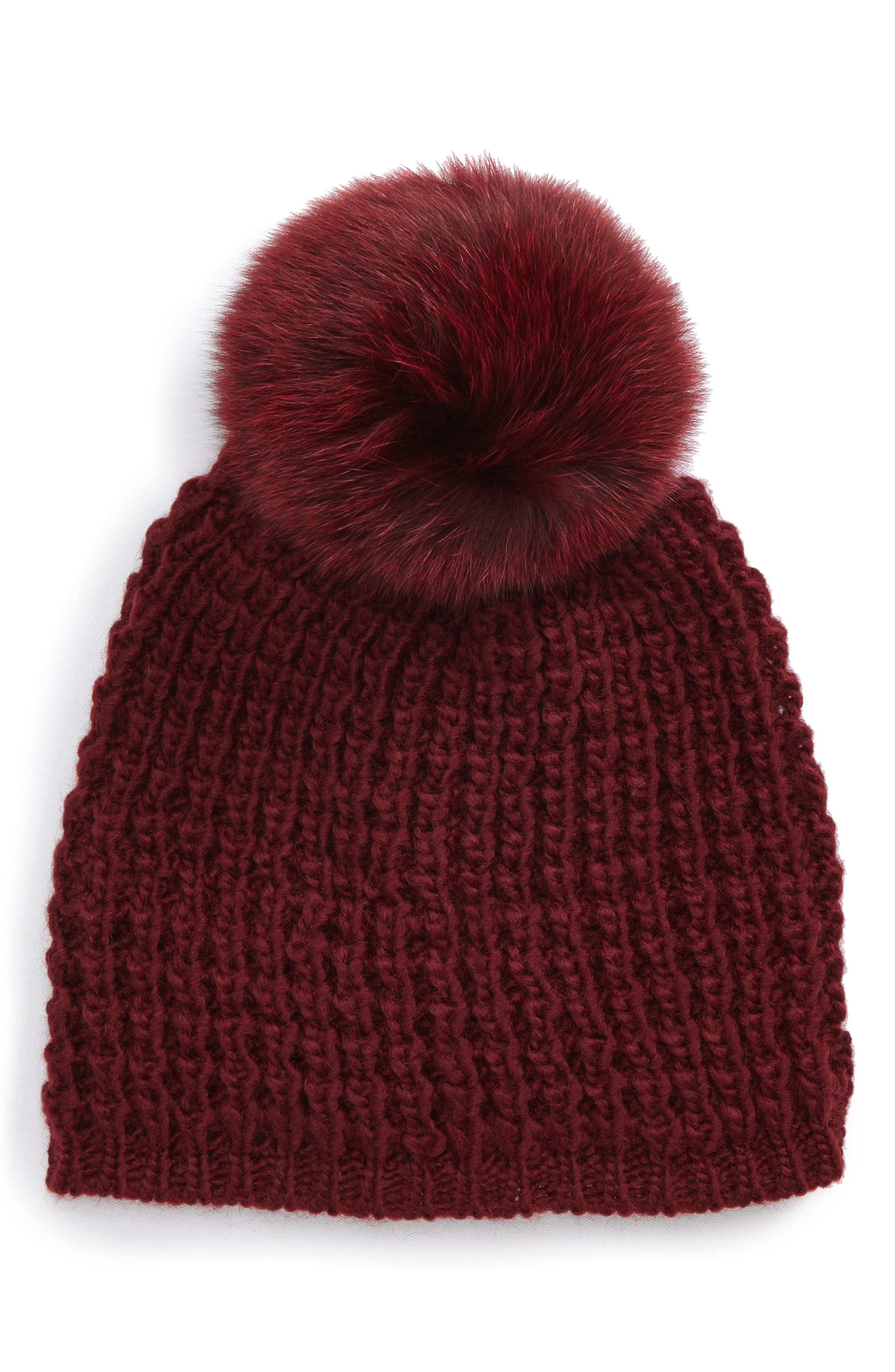 Genuine Fox Pompom Hat,                         Main,                         color, Bordeaux/ Bordeaux