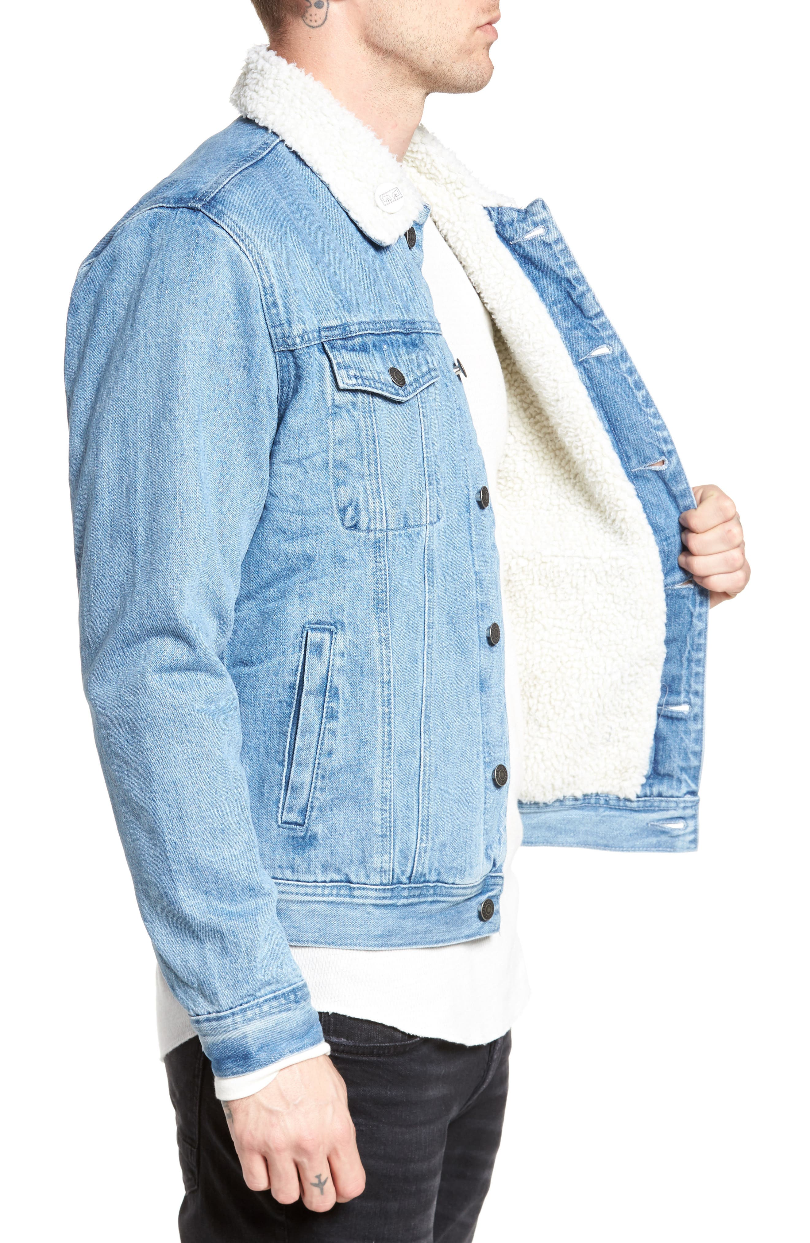 Alternate Image 3  - Obey Off the Chain Fleece Denim Jacket