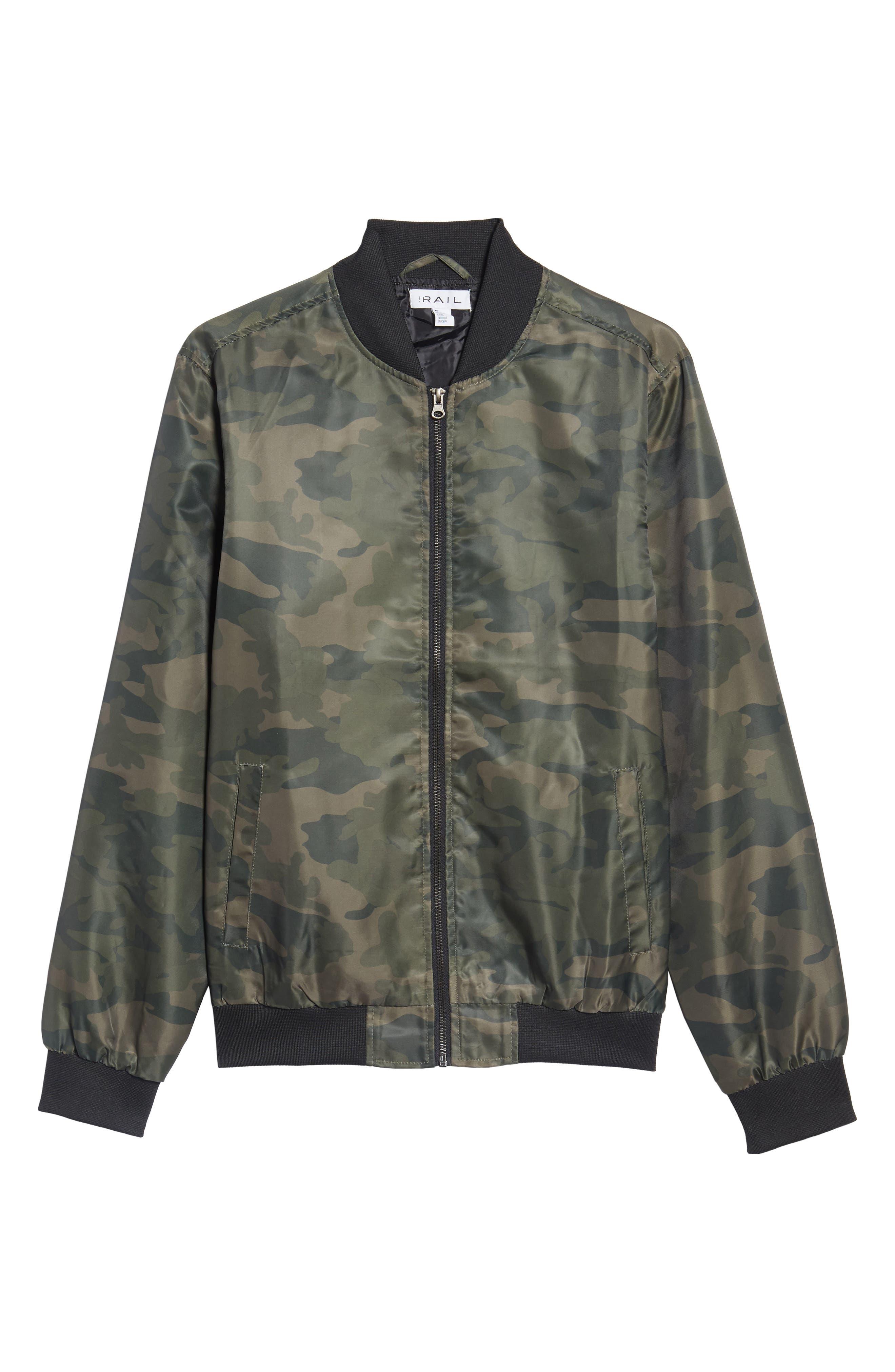 Nylon Bomber Jacket,                             Alternate thumbnail 6, color,                             Olive Dark Camouflage