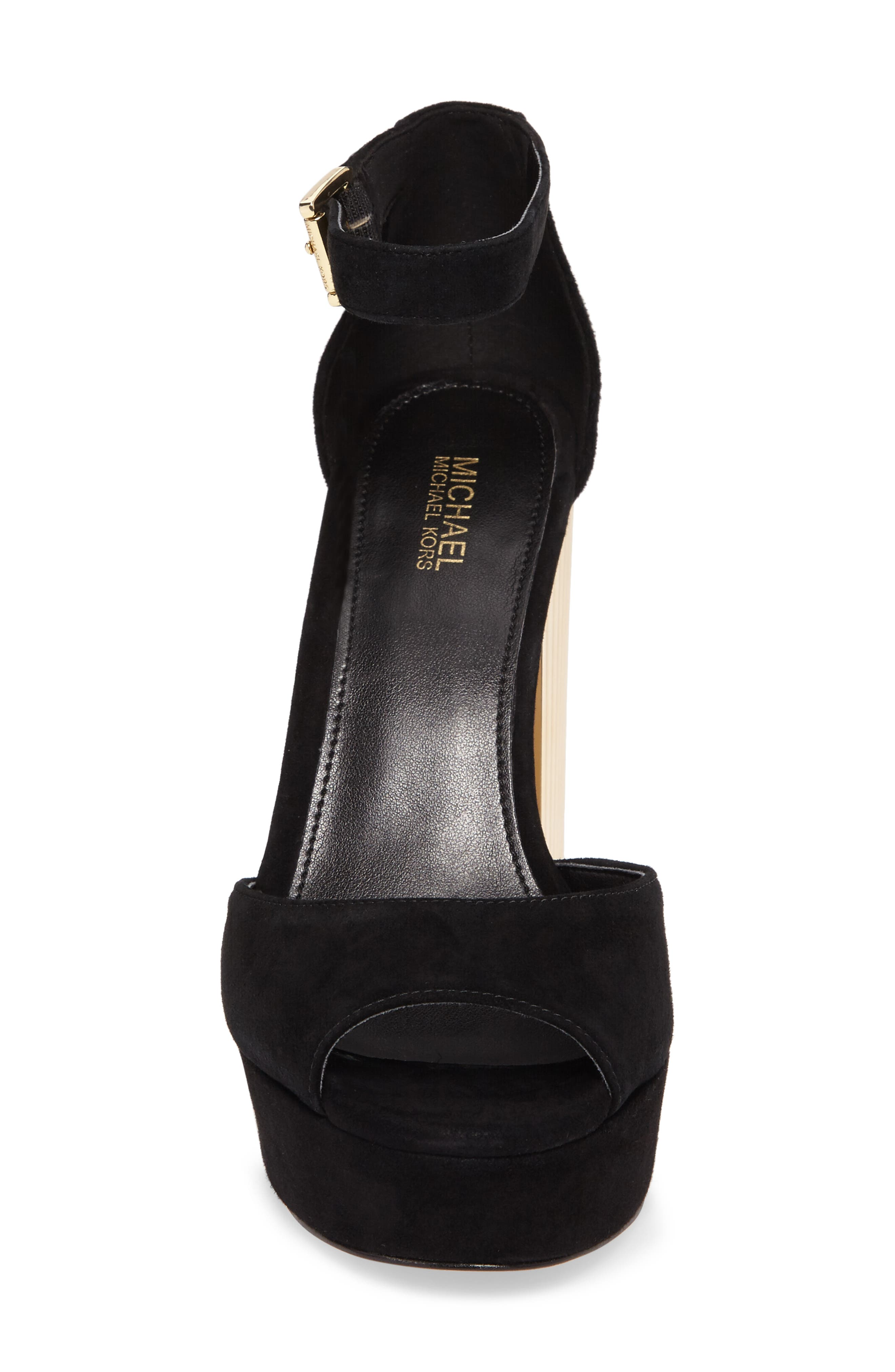 Paloma Metallic Heel Platform Sandal,                             Alternate thumbnail 4, color,                             Black Leather