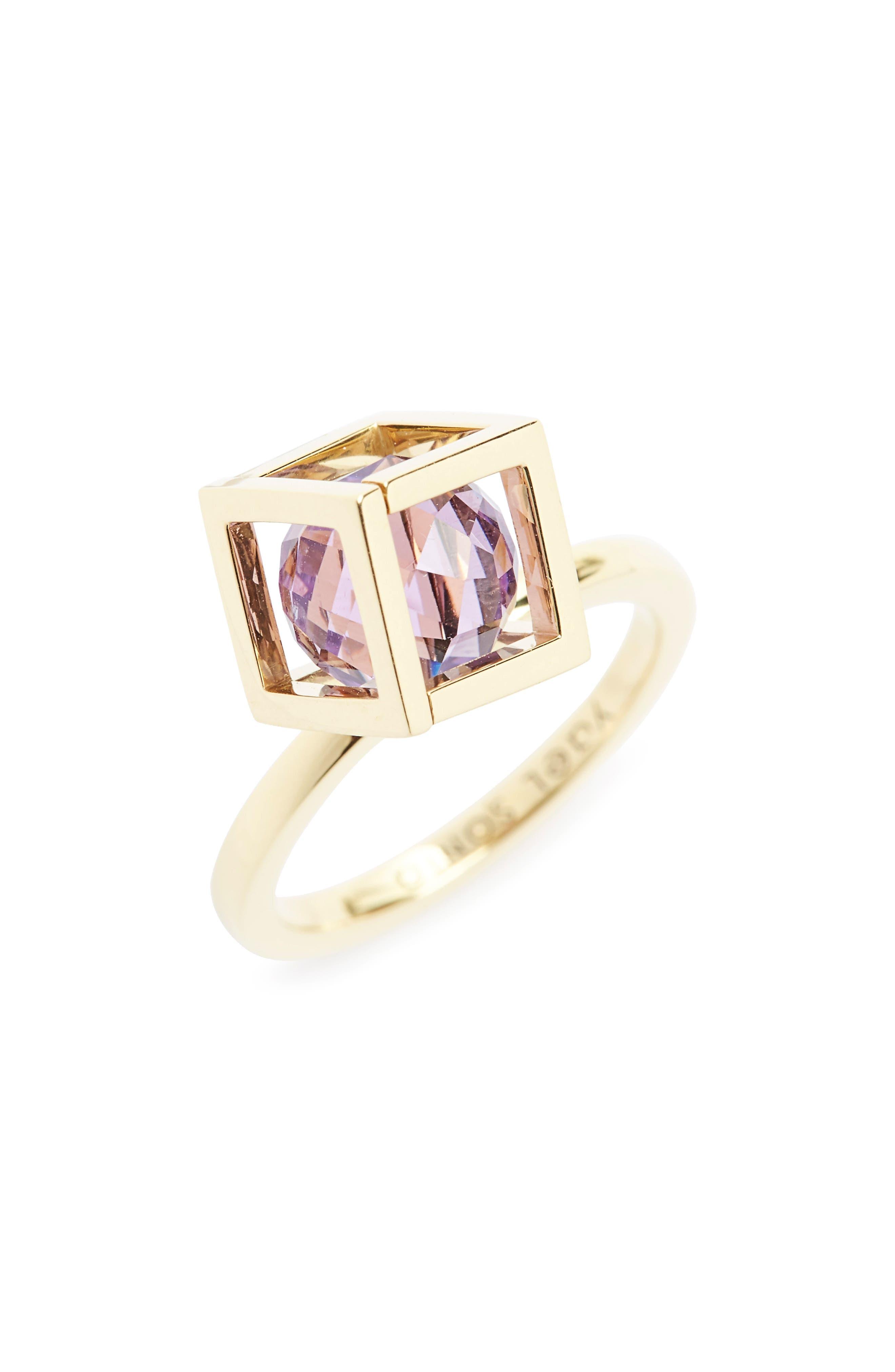 Rotated Solo Amethyst Ring,                             Main thumbnail 1, color,                             Amethyst