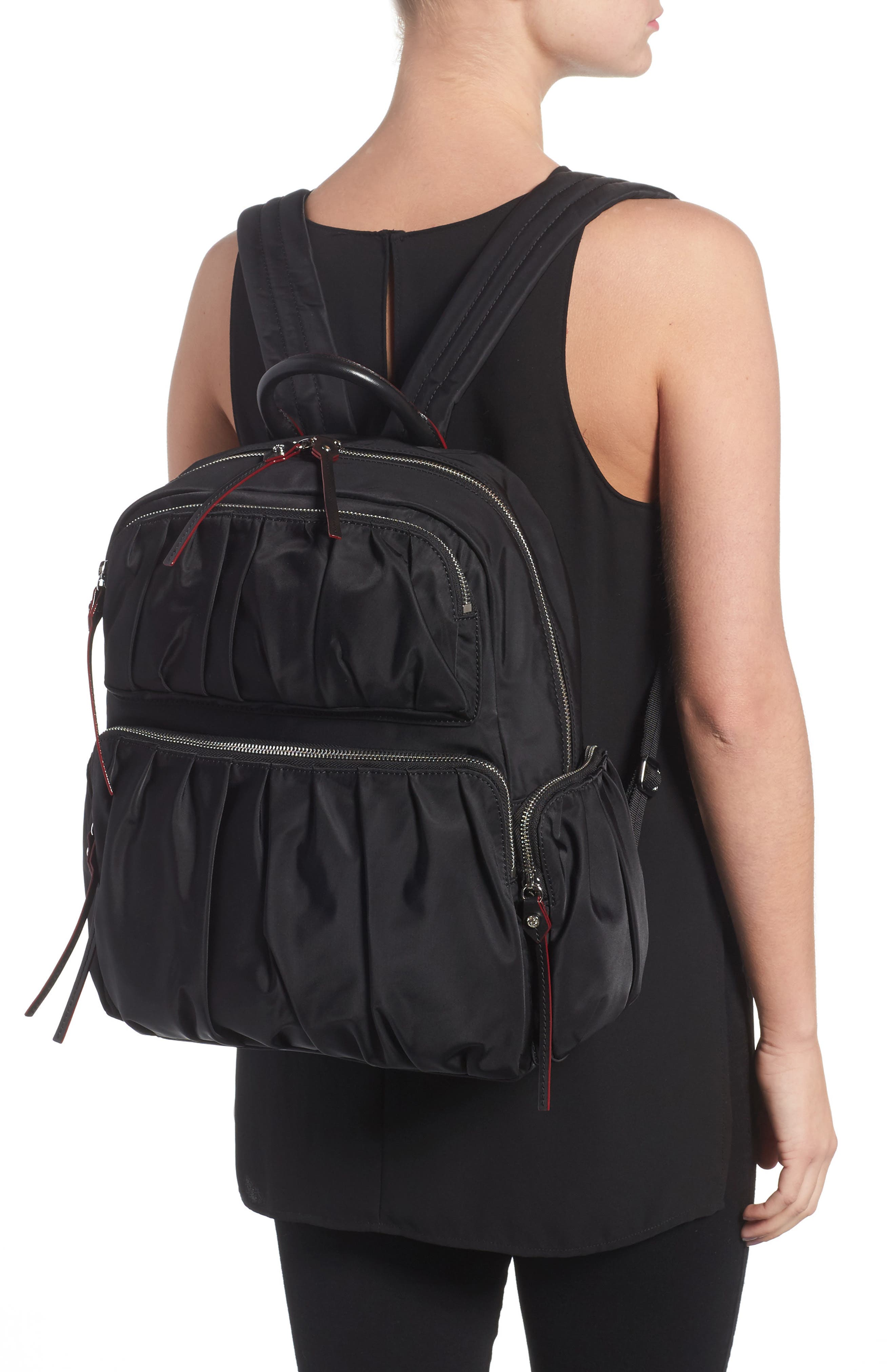 Madelyn Bedford Nylon Backpack,                             Alternate thumbnail 2, color,                             Black