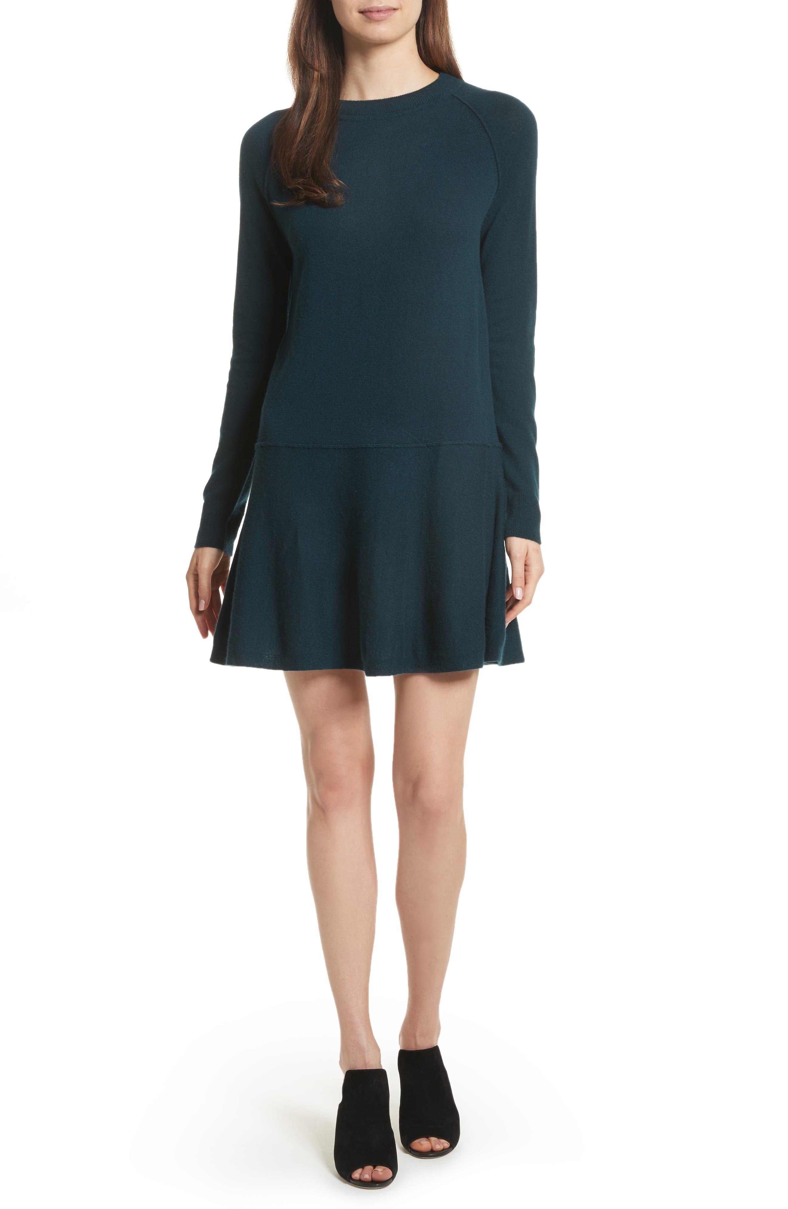 Cashmere Drop Waist Sweater Dress,                         Main,                         color, Juniper