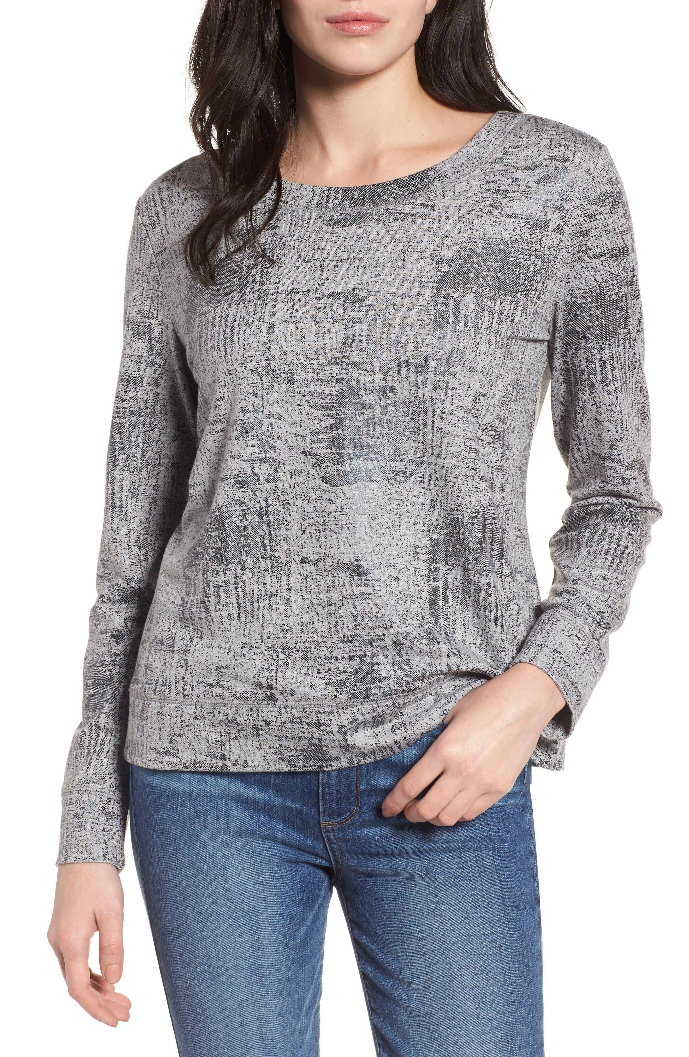 Foiled Sweatshirt,                         Main,                         color, Grey- Black Foil