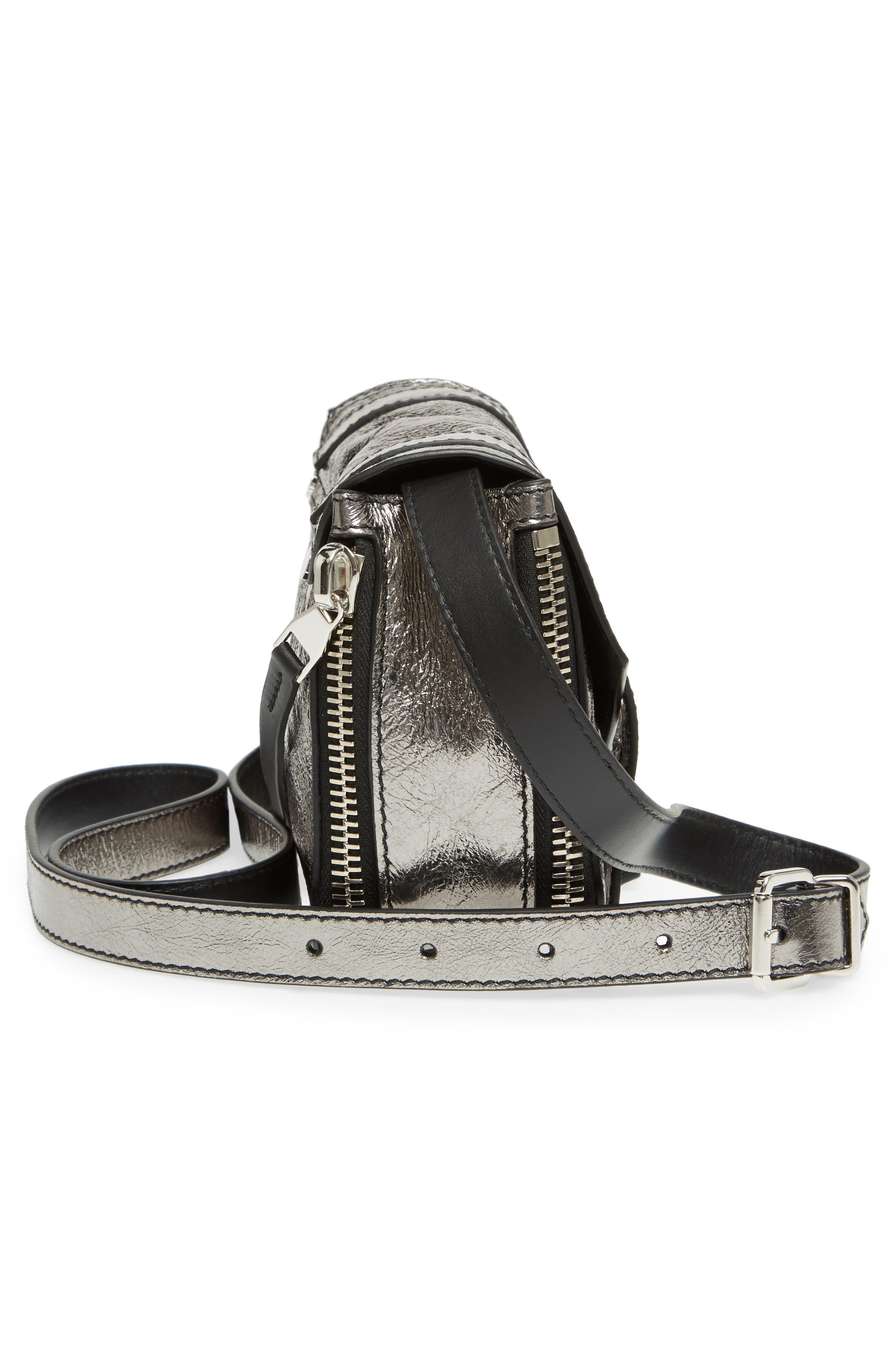 Mini PS1 Metallic Leather Crossbody Bag,                             Alternate thumbnail 5, color,                             Dark Silver