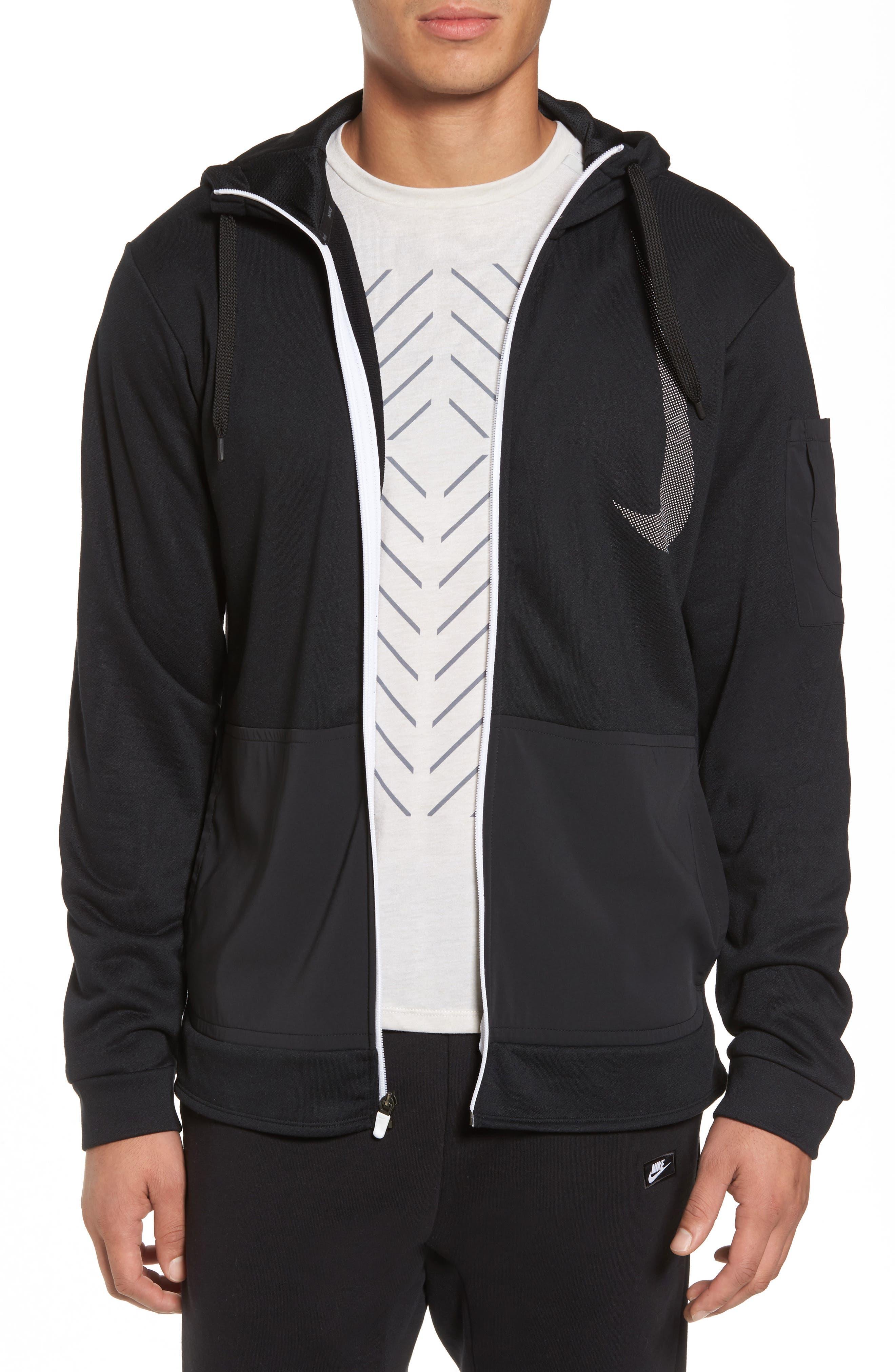 Training Dry PX Zip Hoodie,                         Main,                         color, Black/ Black/ White