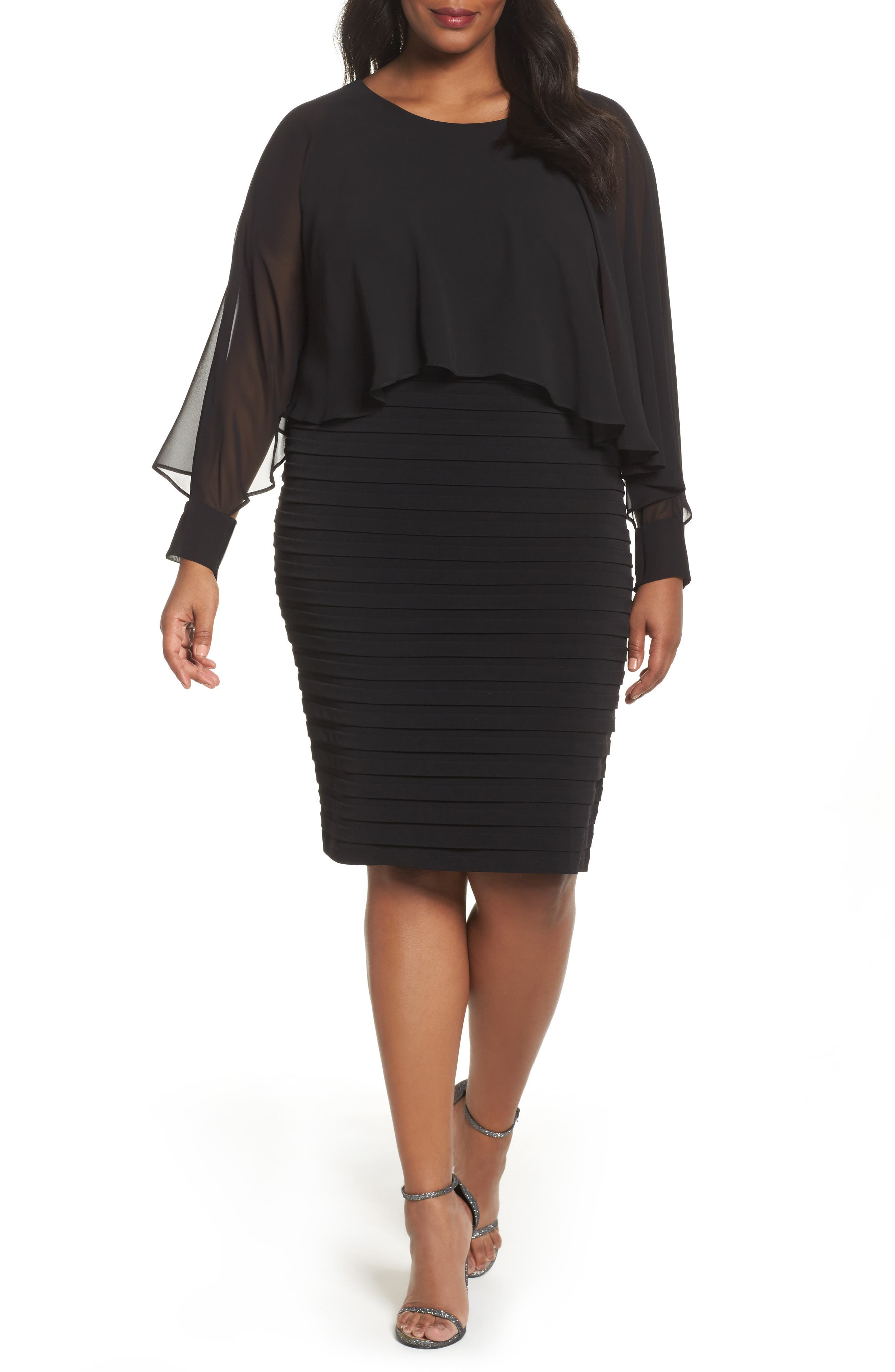 London Times Matte Jersey Shutter Pleat Dress (Plus Size)