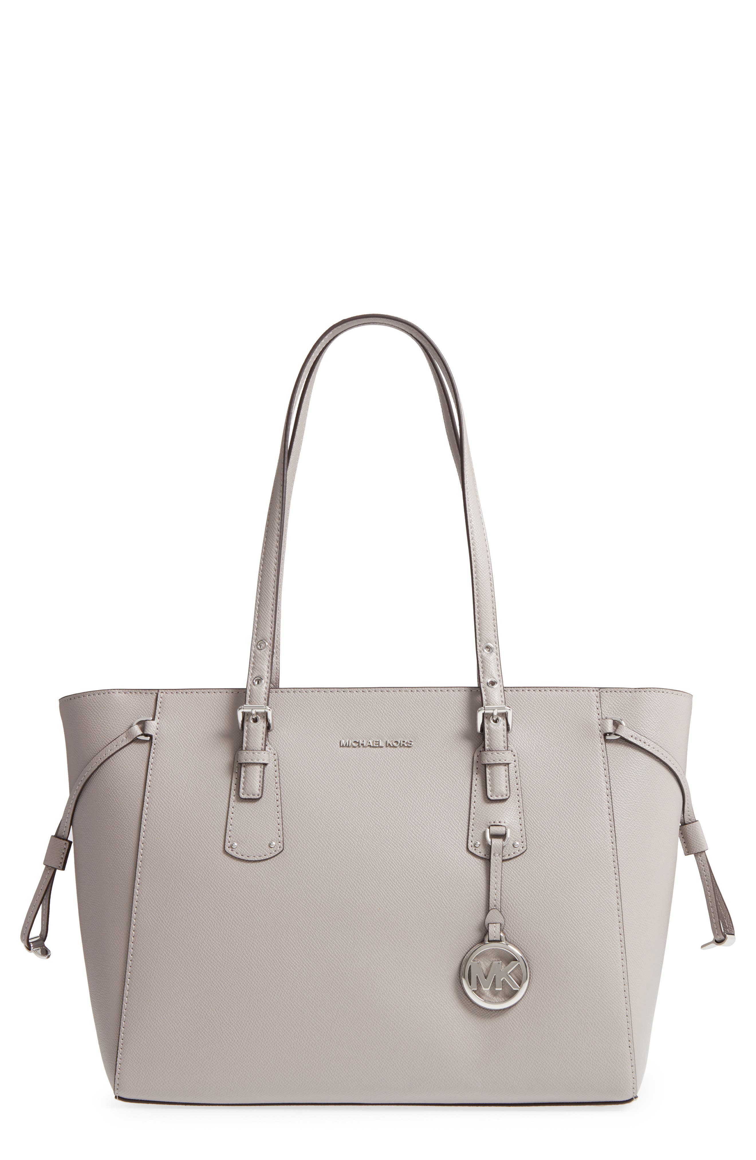 MICHAEL Michael Kors Voyager Leather Tote,                             Main thumbnail 1, color,                             Pearl Grey