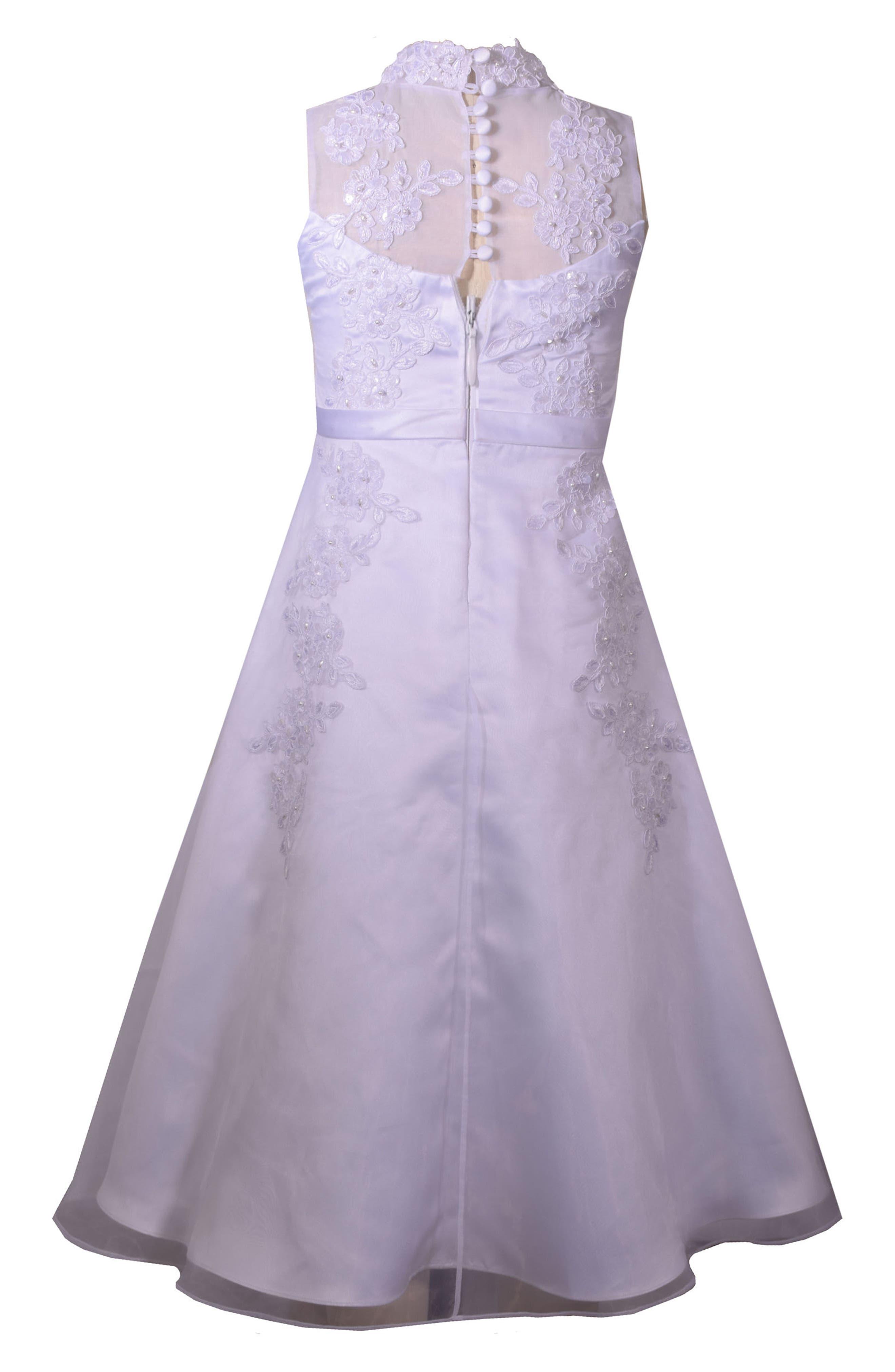 Sequin First Communion Dress,                             Alternate thumbnail 2, color,                             White