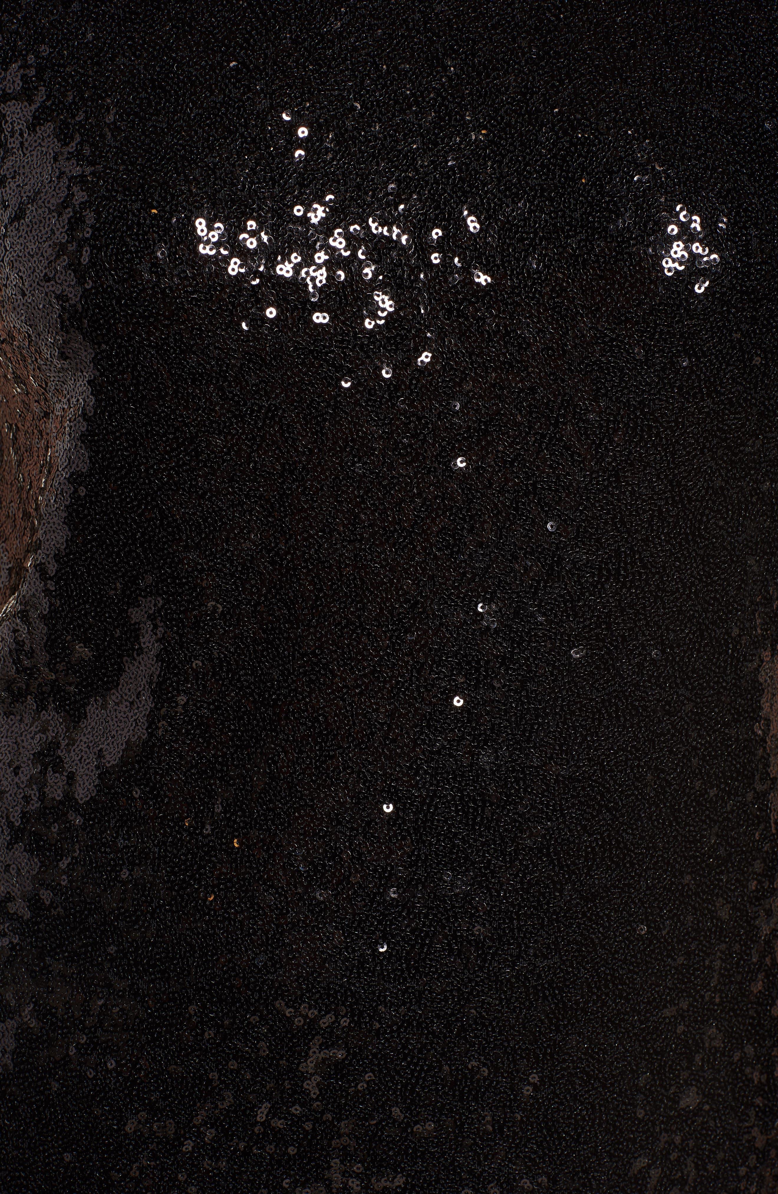 V-Back Sequin Top,                             Alternate thumbnail 5, color,                             Black