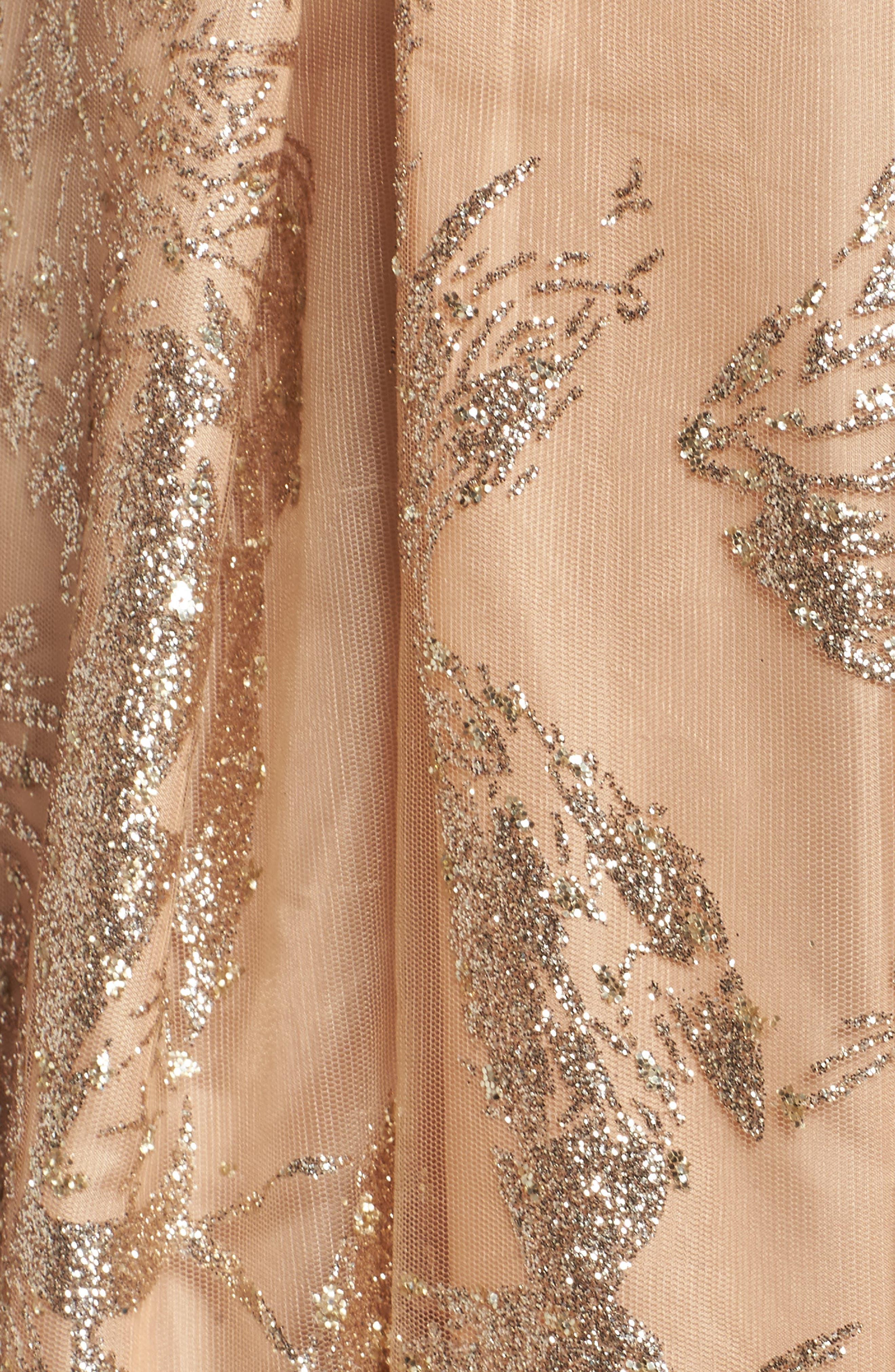 Glitter Halter Neck Ball Gown,                             Alternate thumbnail 5, color,                             Gold