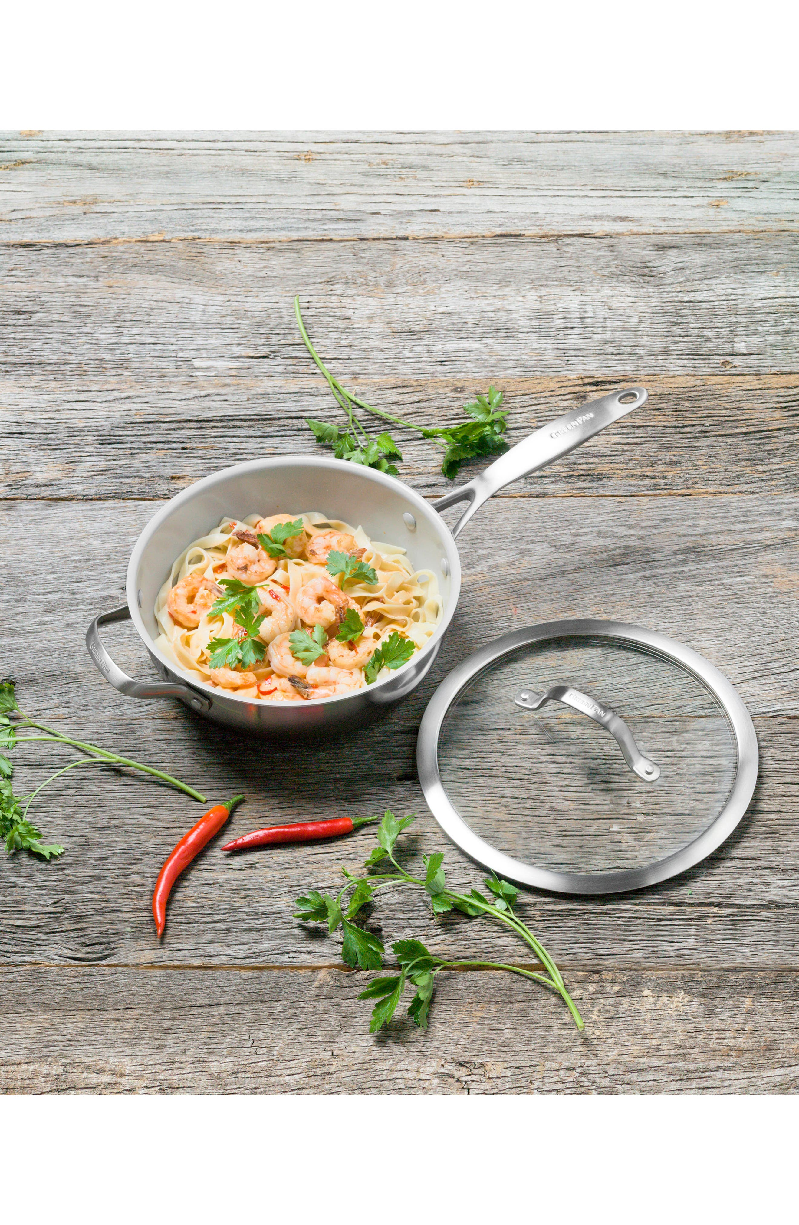 Alternate Image 4  - GreenPan Venice Pro 3 1/2-Quart Multilayer Stainless Steel Ceramic Nonstick Chef's Pan with Glass Lid