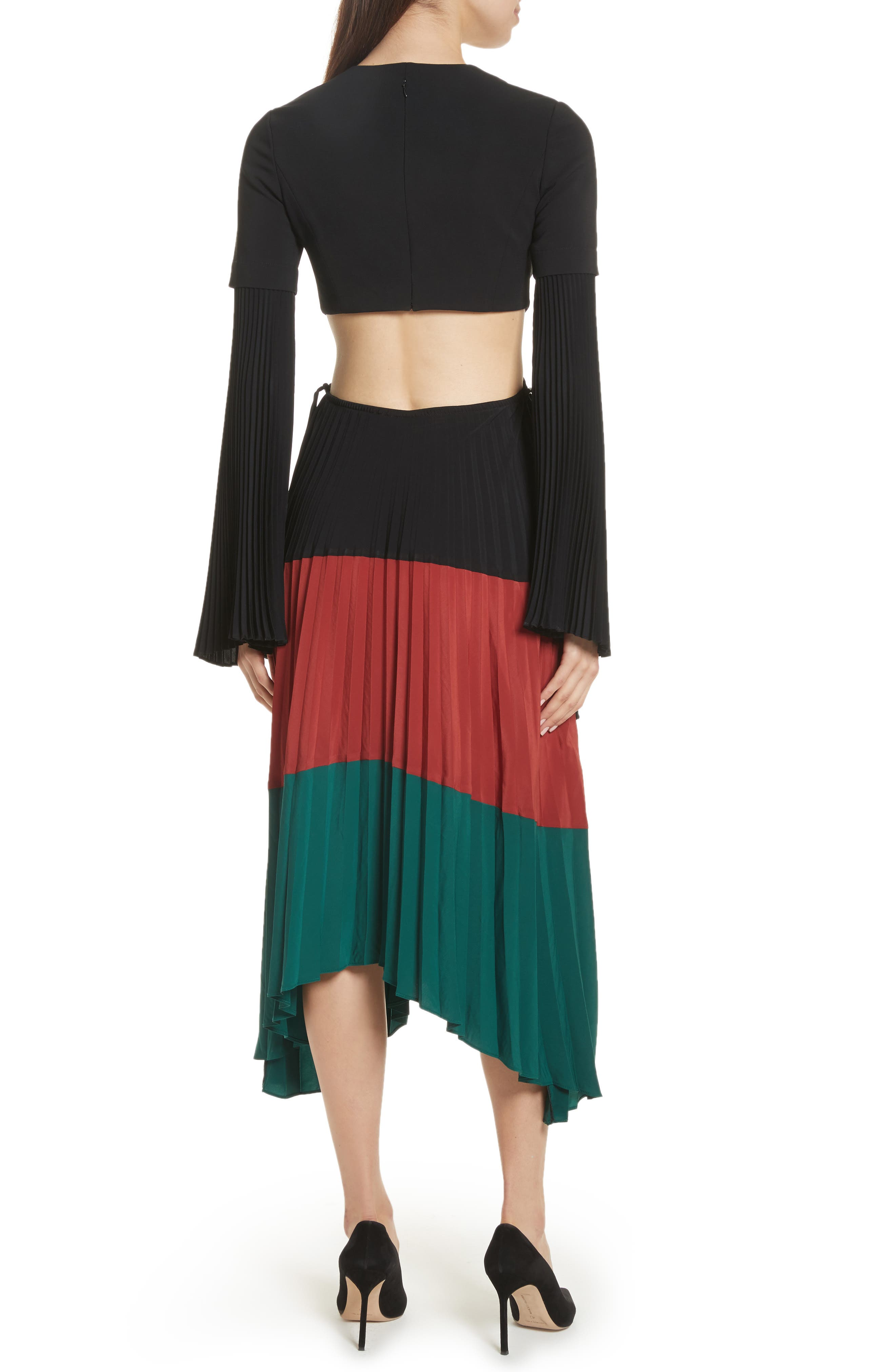 Rio Cutout Pleated Midi Dress,                             Alternate thumbnail 2, color,                             Black