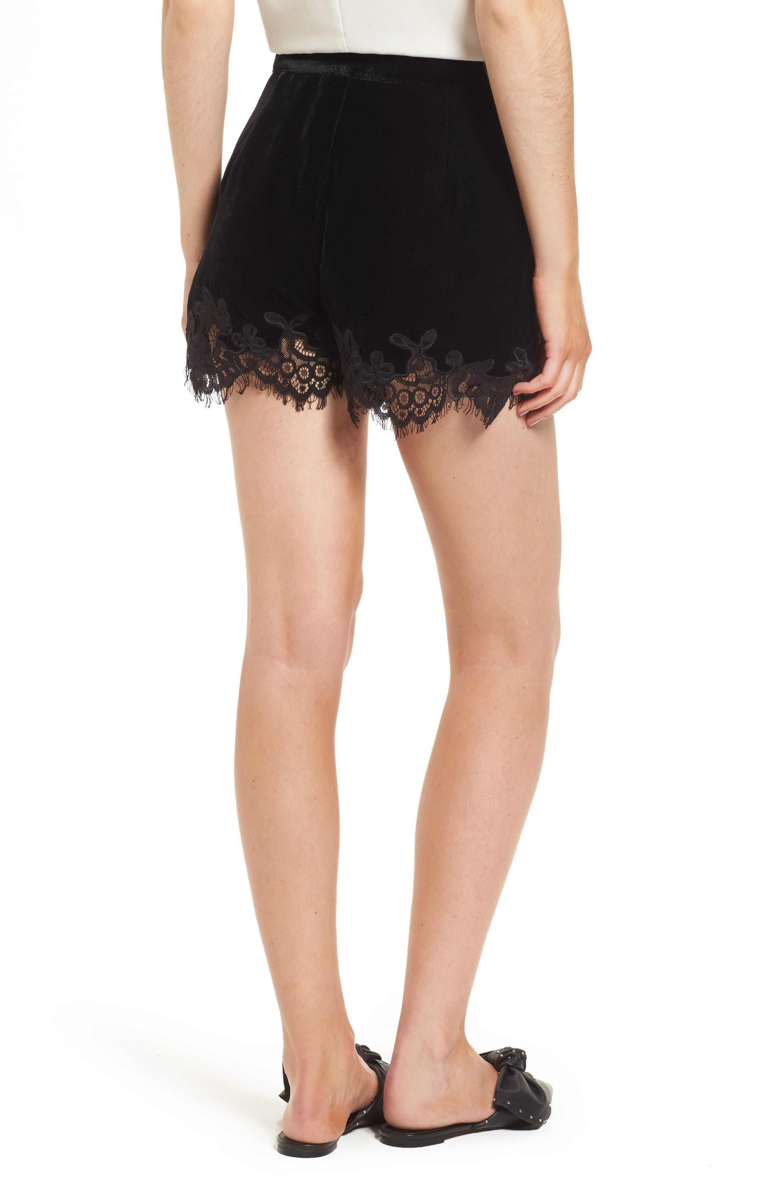 Amelia Lace & Velvet Shorts,                             Alternate thumbnail 2, color,                             Black