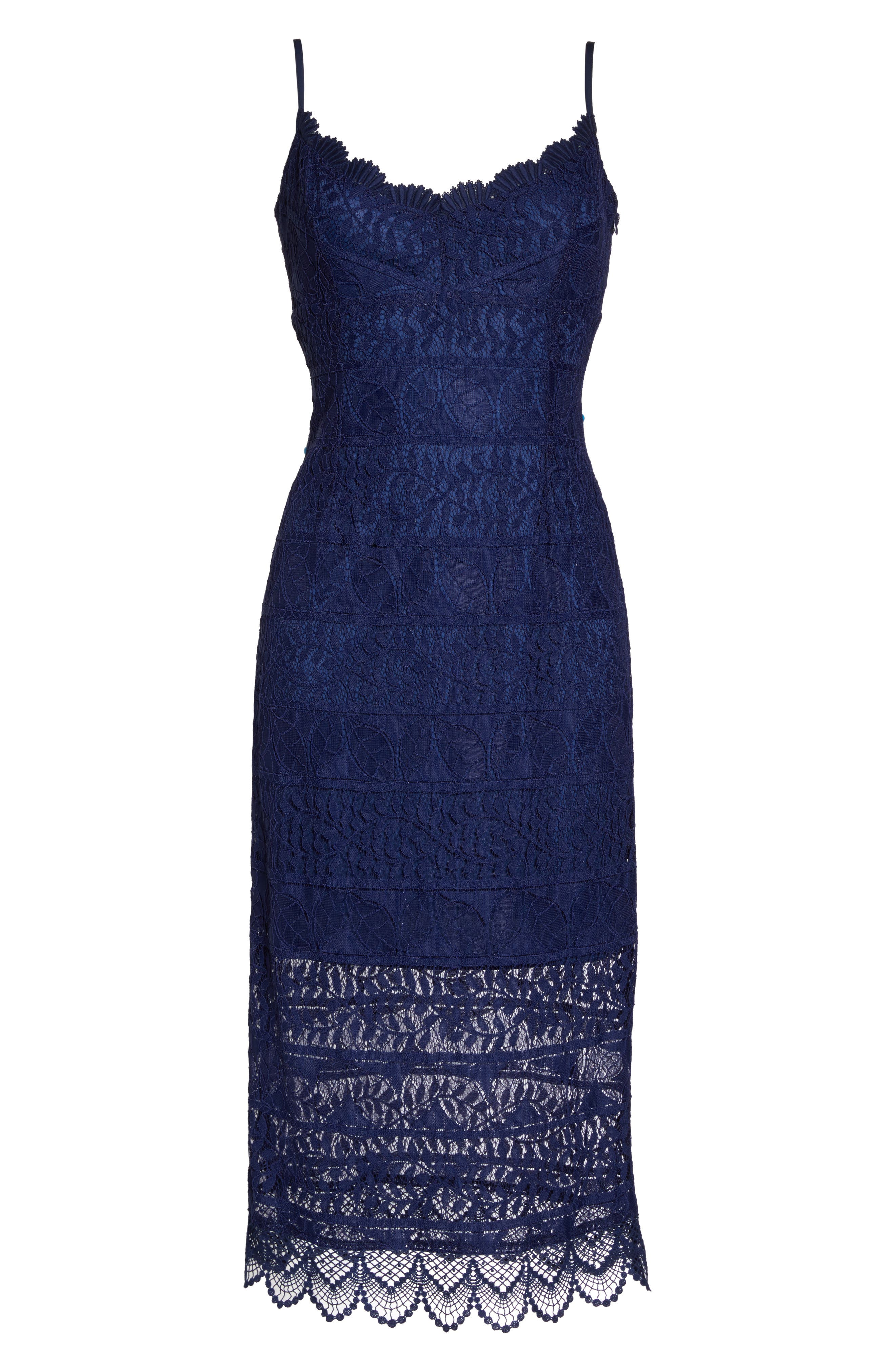 Floral Lace Slipdress,                         Main,                         color, Navy