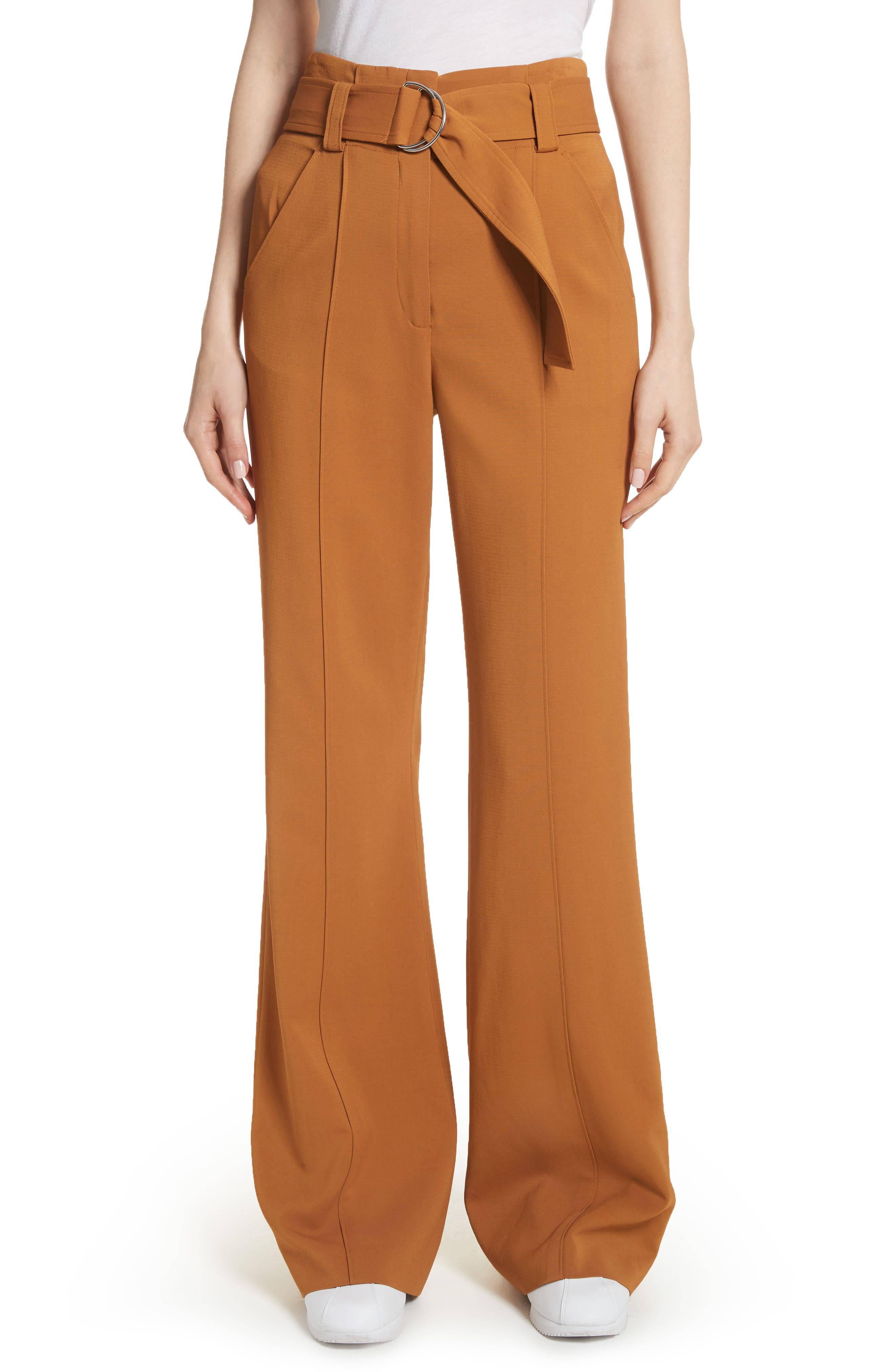 Foster Flare Leg Crepe Pants,                         Main,                         color, Gold