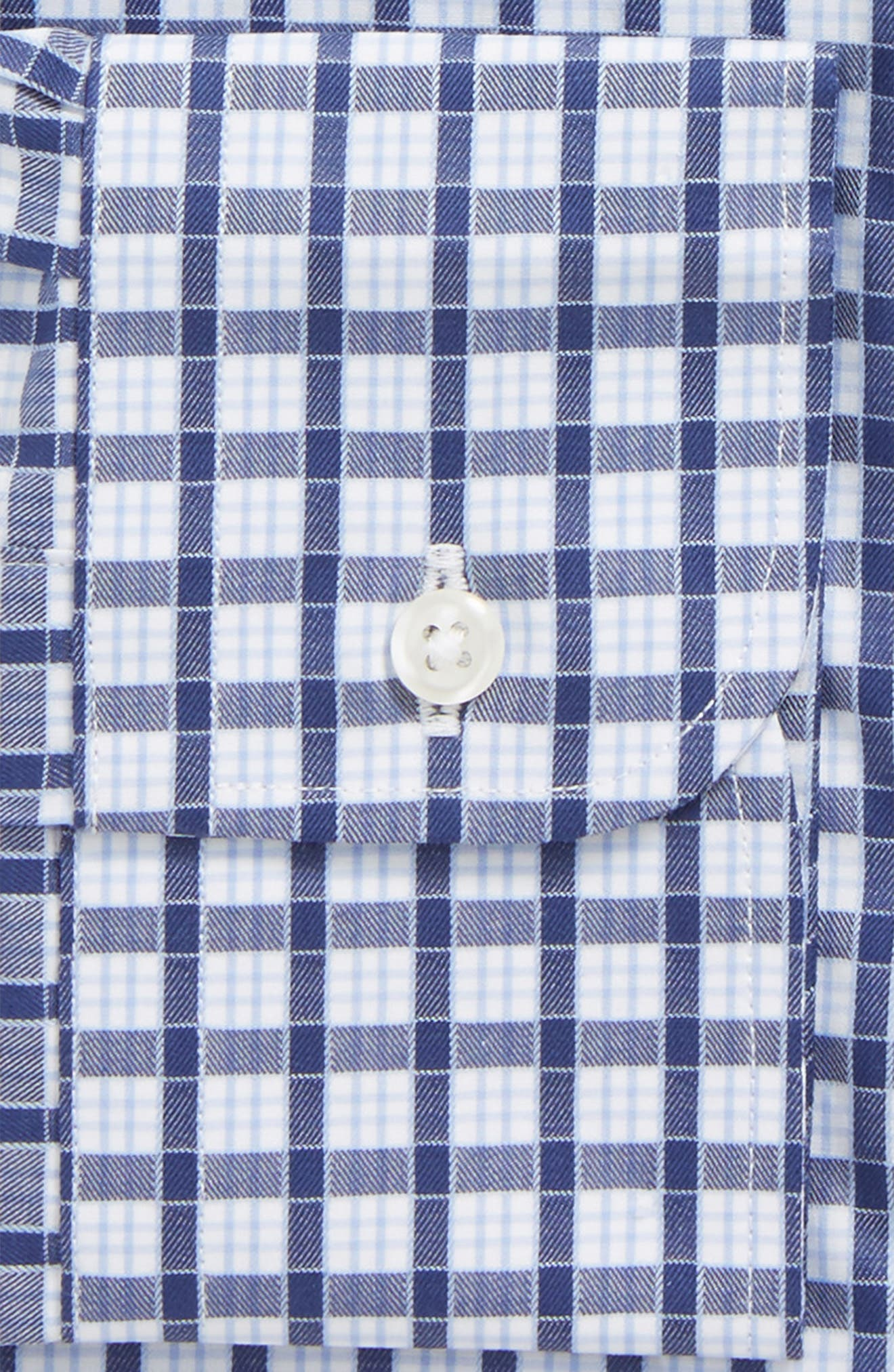 Traditional Fit Check Dress Shirt,                             Alternate thumbnail 5, color,                             Navy Ribbon