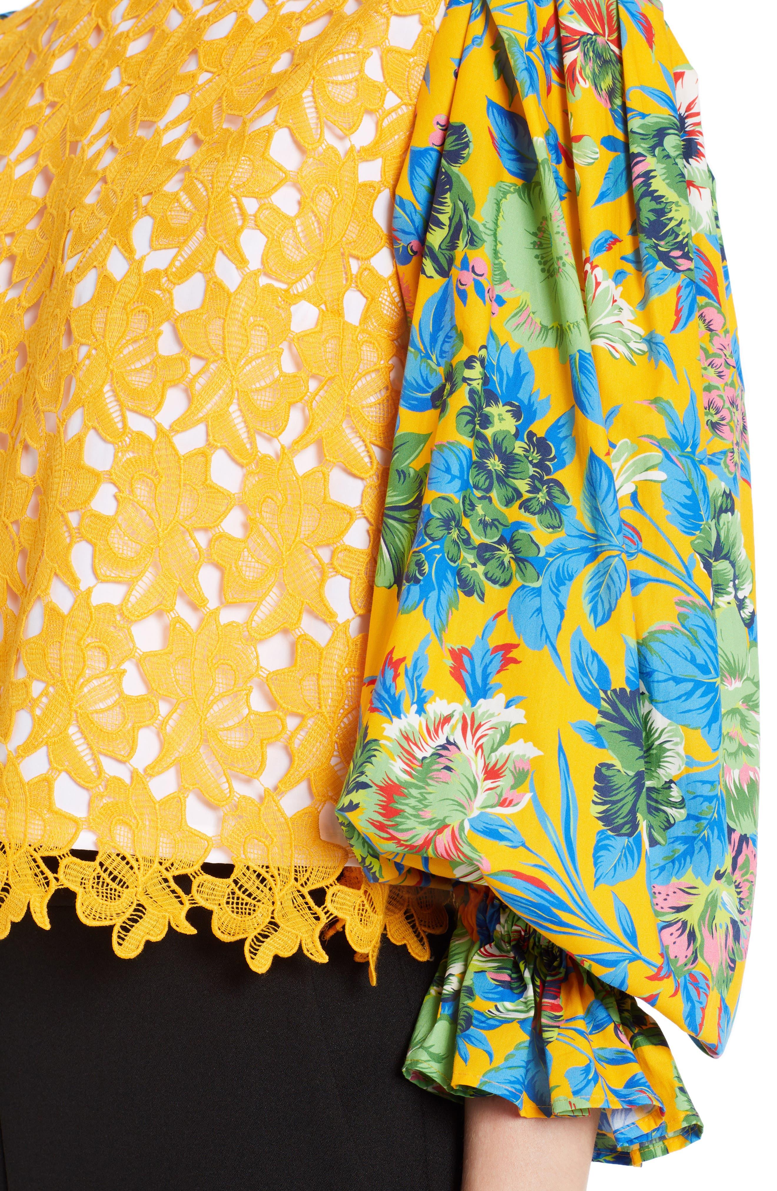 Mixed Media Top,                             Alternate thumbnail 4, color,                             Orange 09
