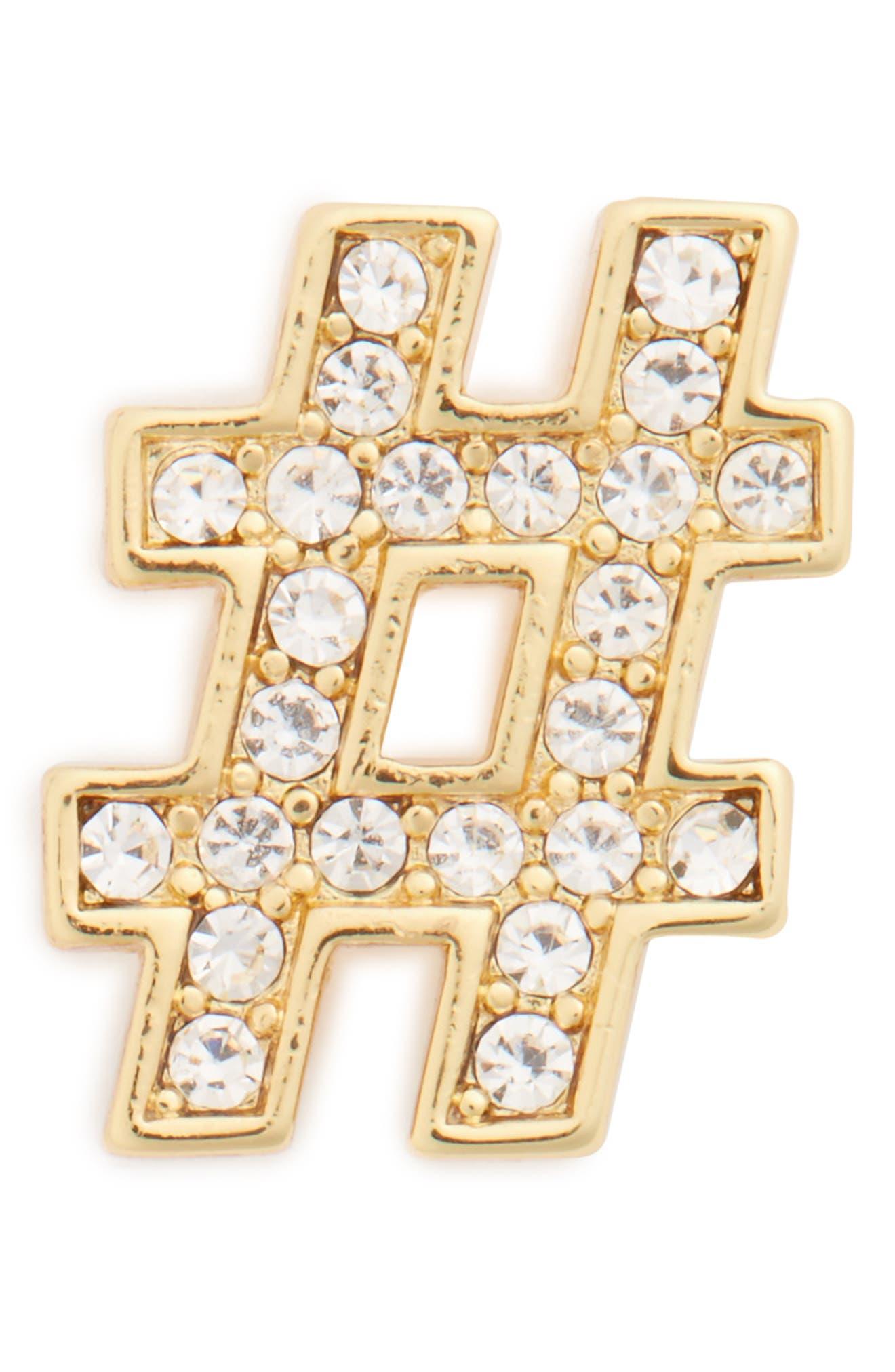 MICHAEL Michael Kors Hashtag Pin,                             Main thumbnail 1, color,                             Gold