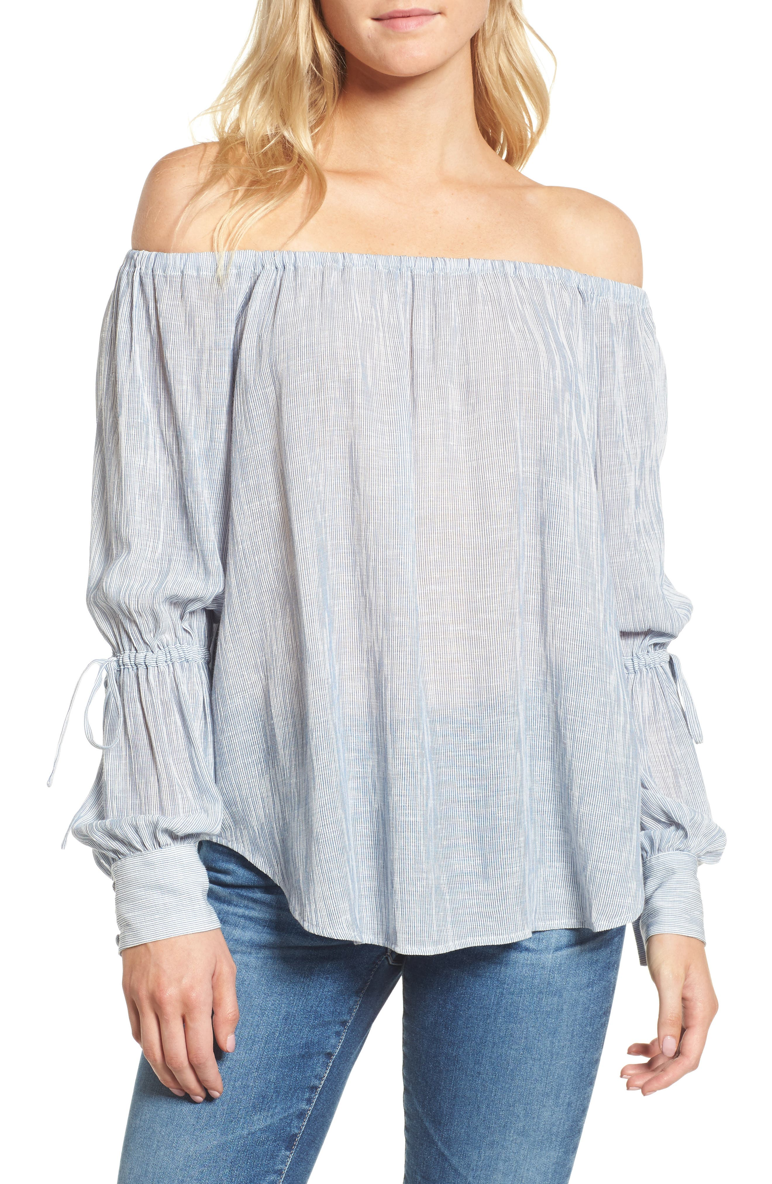 Tallulah Off the Shoulder Blouse,                         Main,                         color, Navy/ White